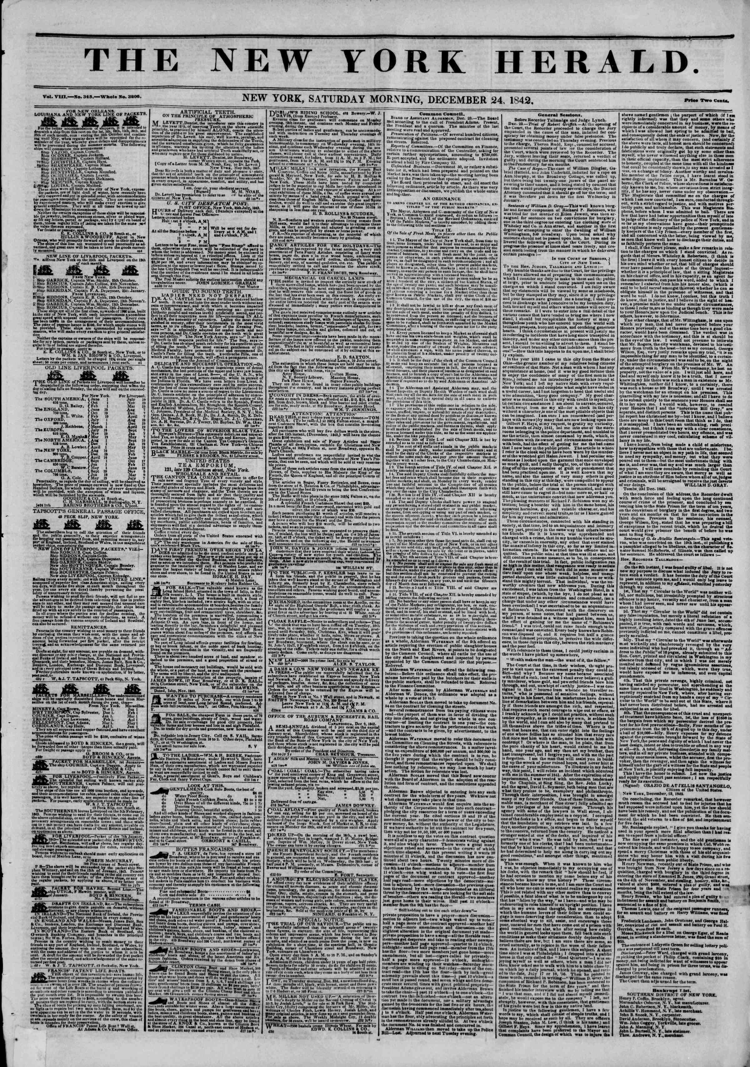 December 24, 1842 Tarihli The New York Herald Gazetesi Sayfa 1