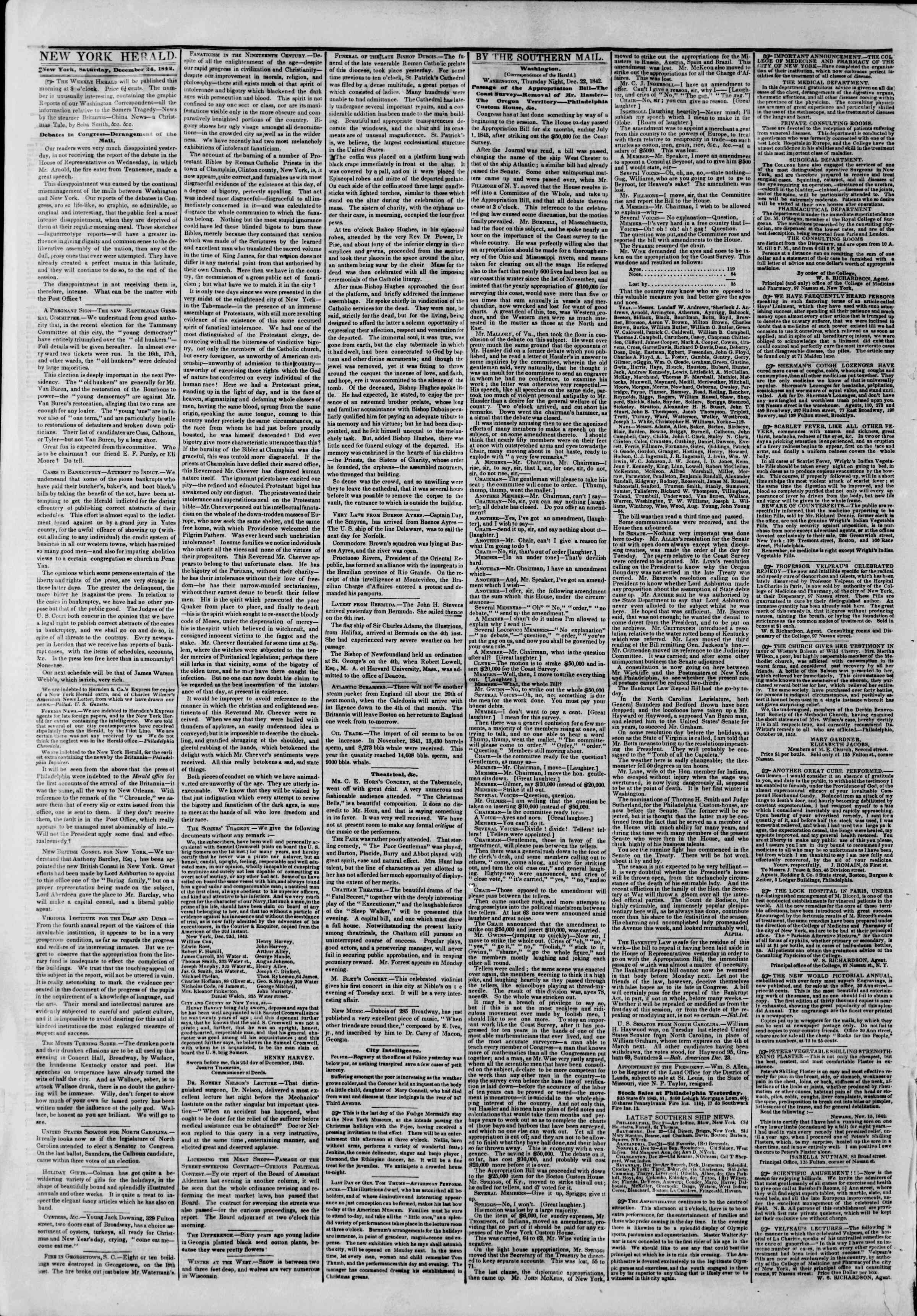 Newspaper of The New York Herald dated December 24, 1842 Page 2