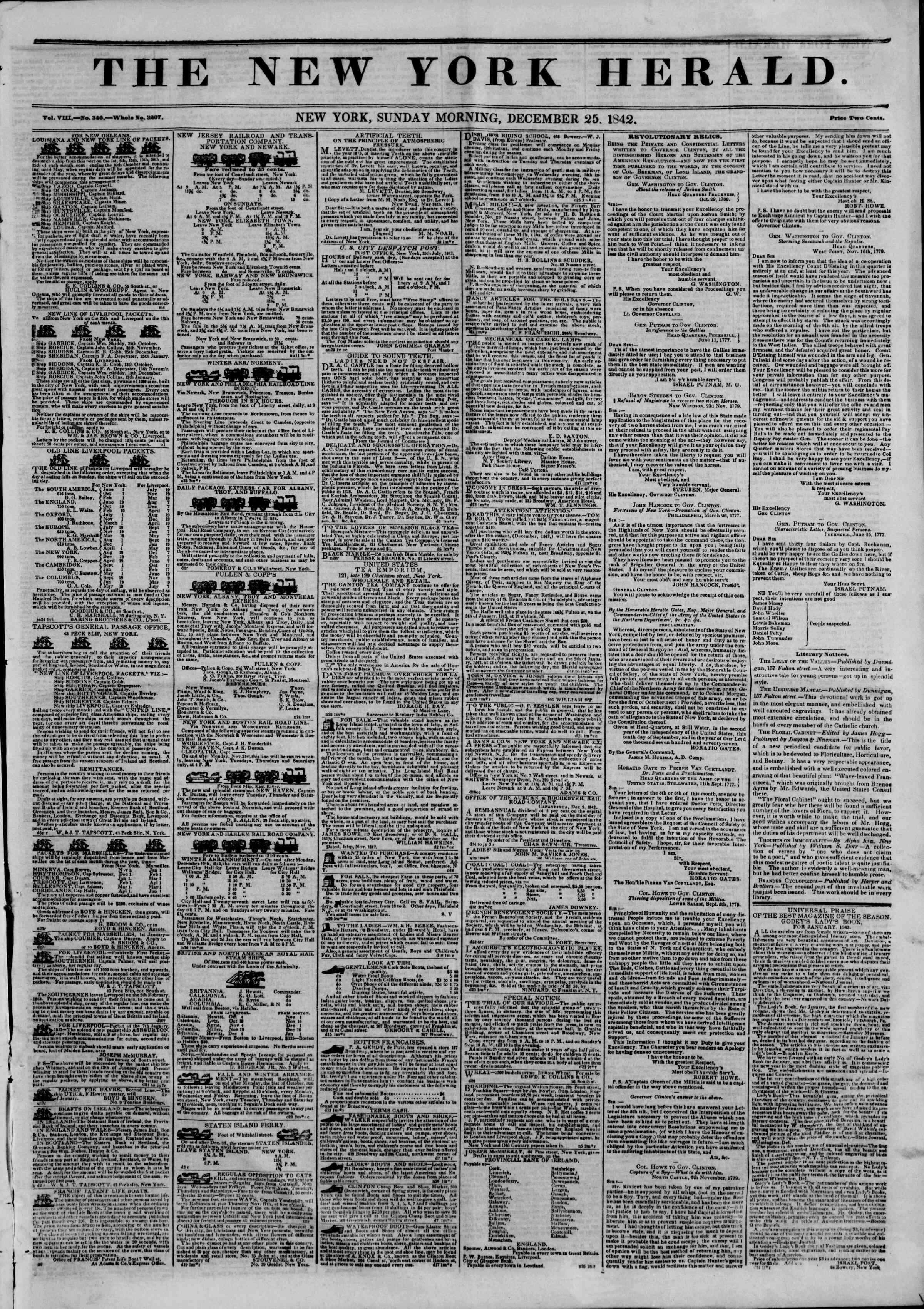 December 25, 1842 Tarihli The New York Herald Gazetesi Sayfa 1
