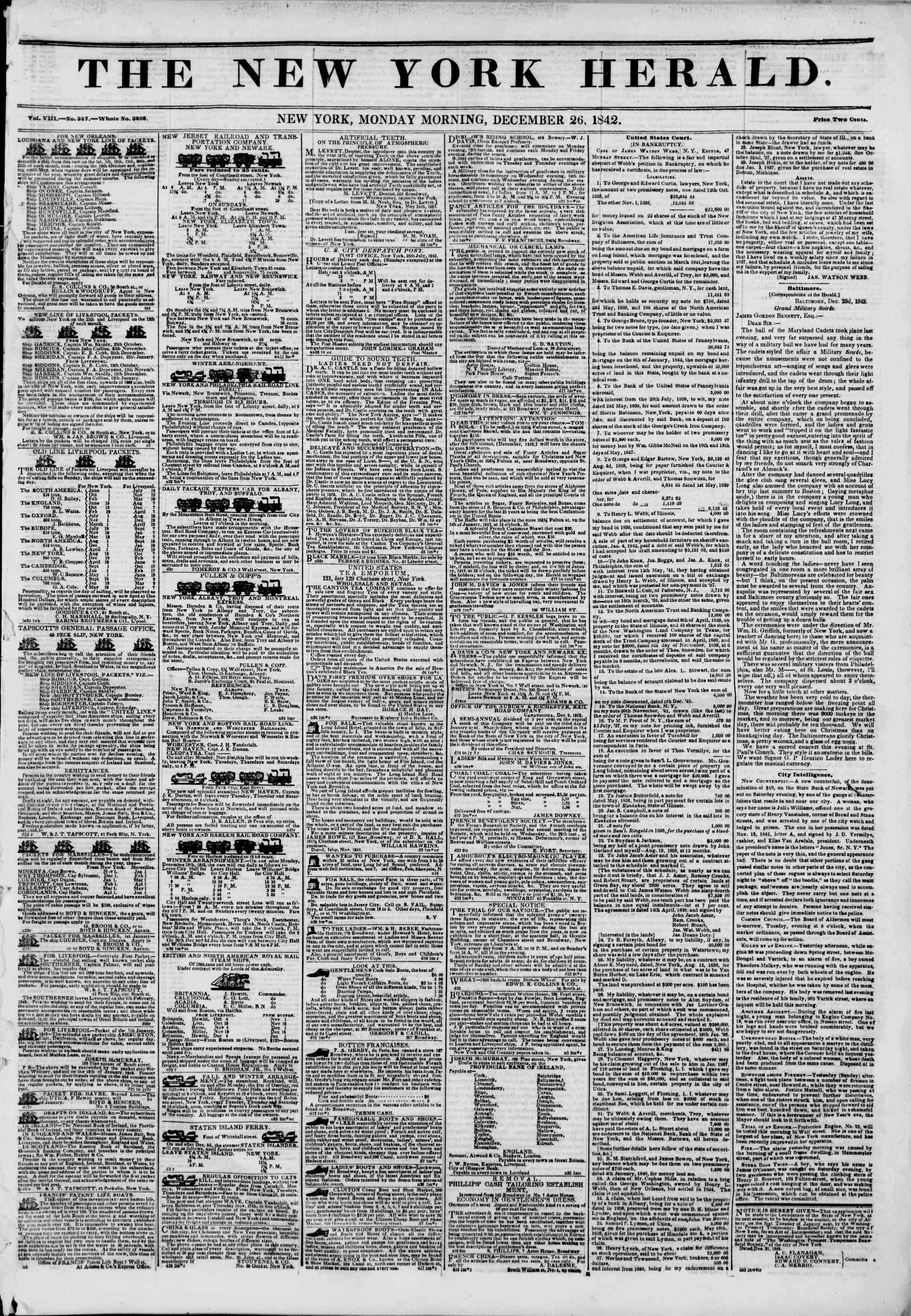 December 26, 1842 Tarihli The New York Herald Gazetesi Sayfa 1