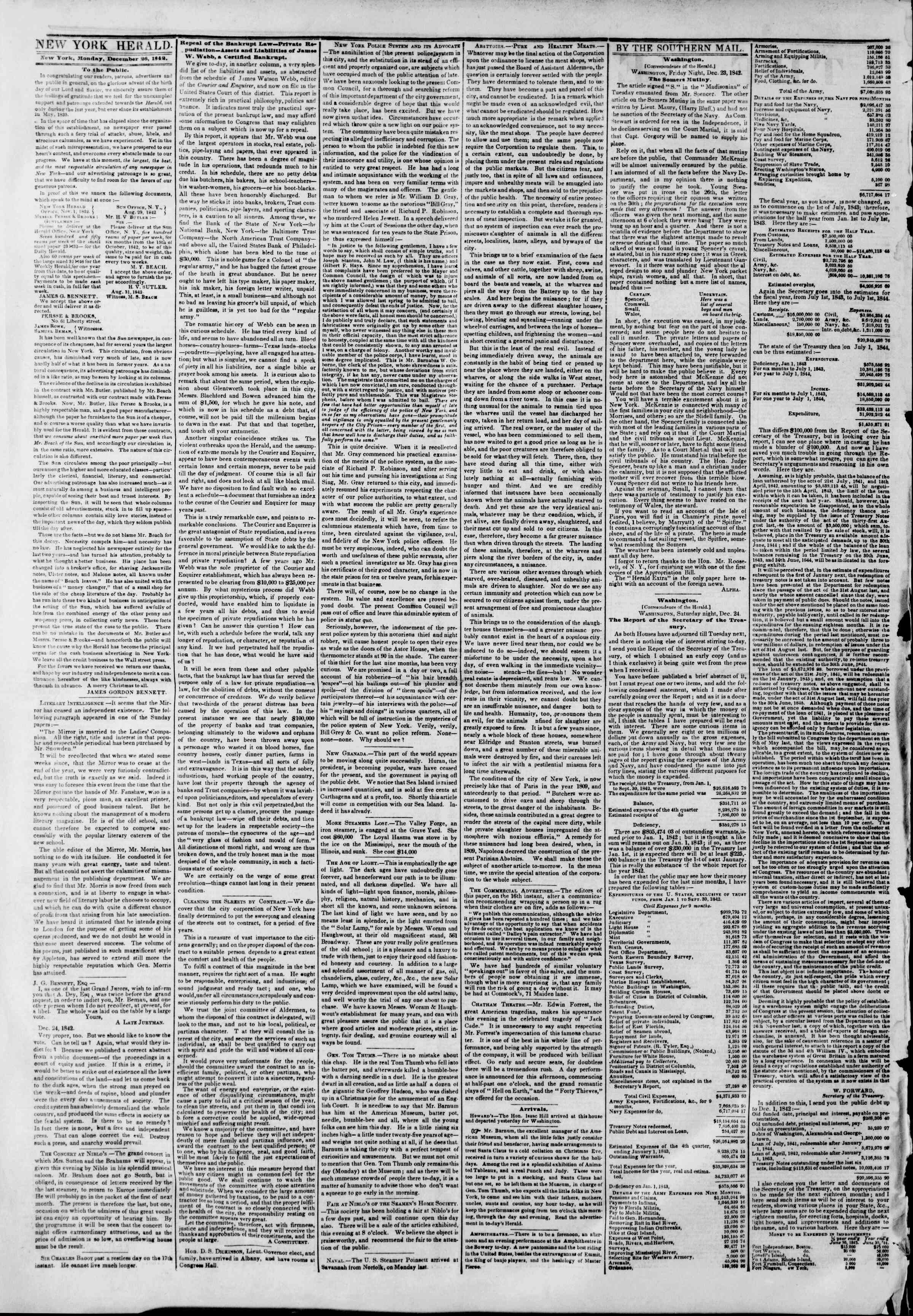 December 26, 1842 Tarihli The New York Herald Gazetesi Sayfa 2