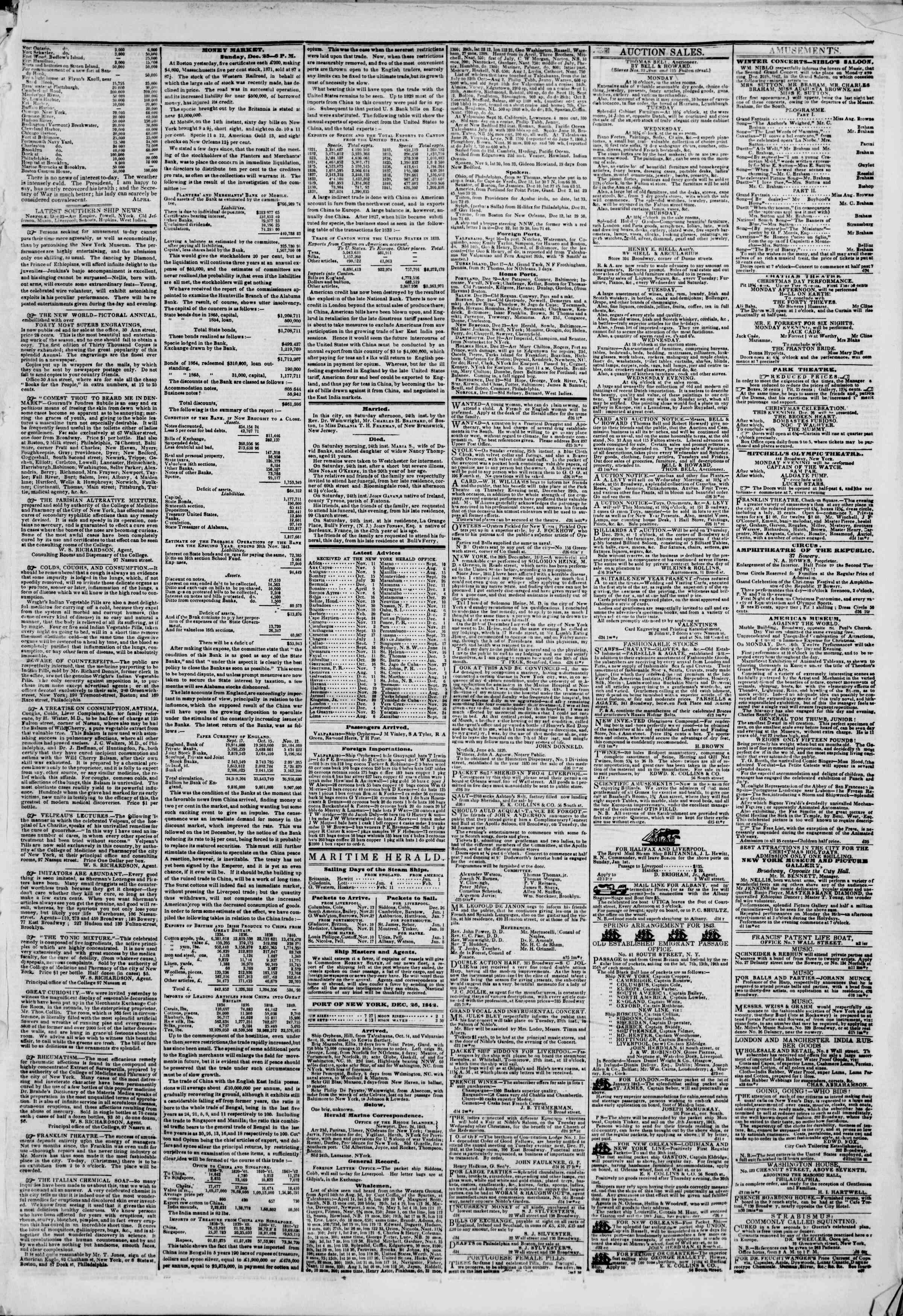 December 26, 1842 Tarihli The New York Herald Gazetesi Sayfa 3