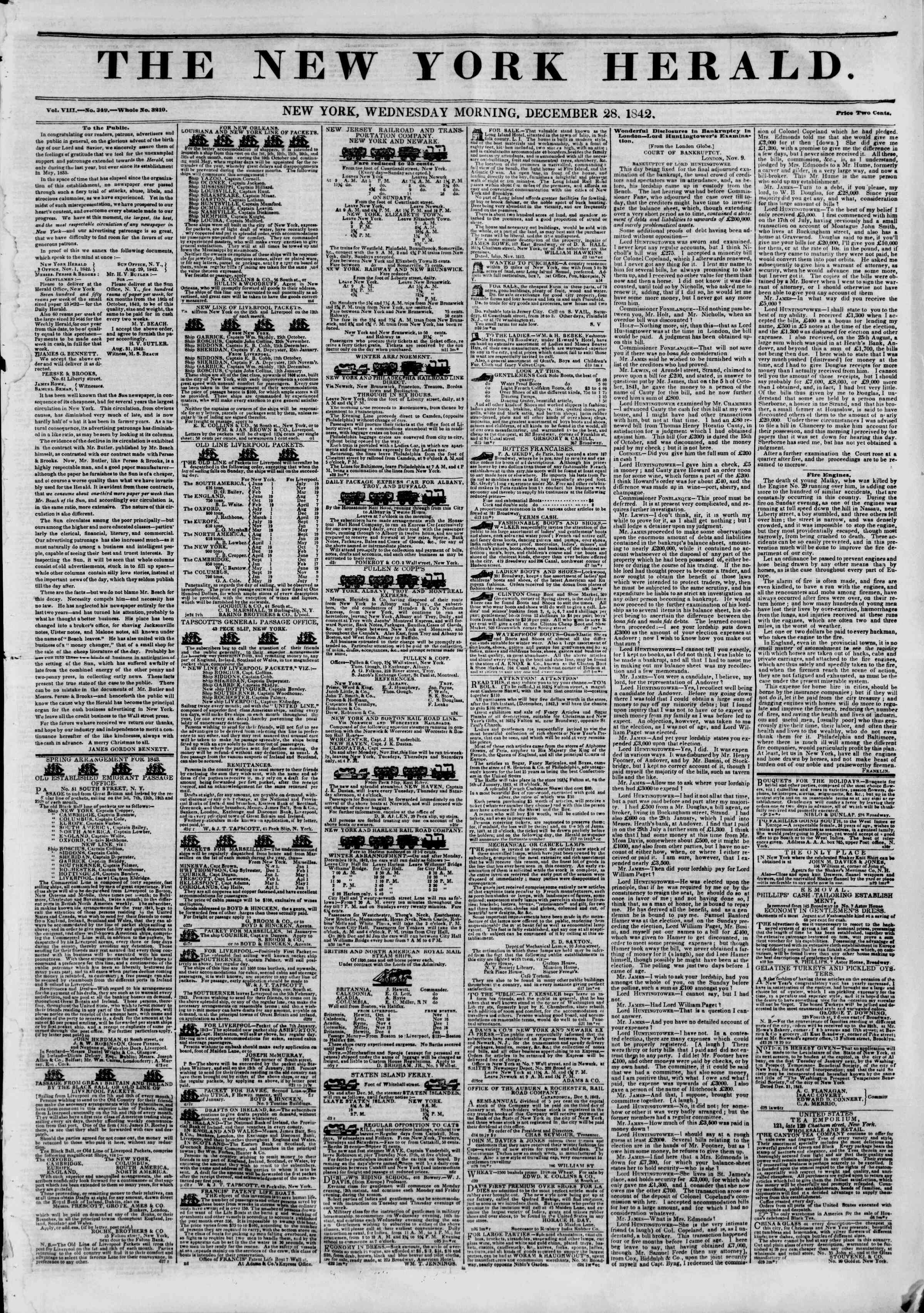 Newspaper of The New York Herald dated December 28, 1842 Page 1