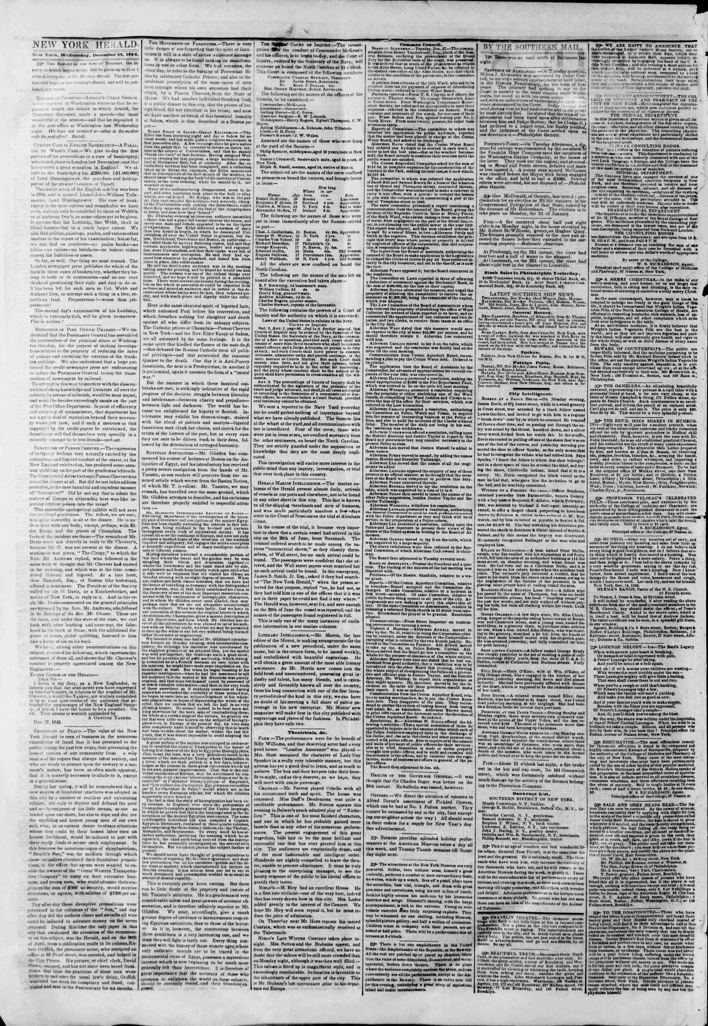 December 28, 1842 Tarihli The New York Herald Gazetesi Sayfa 2