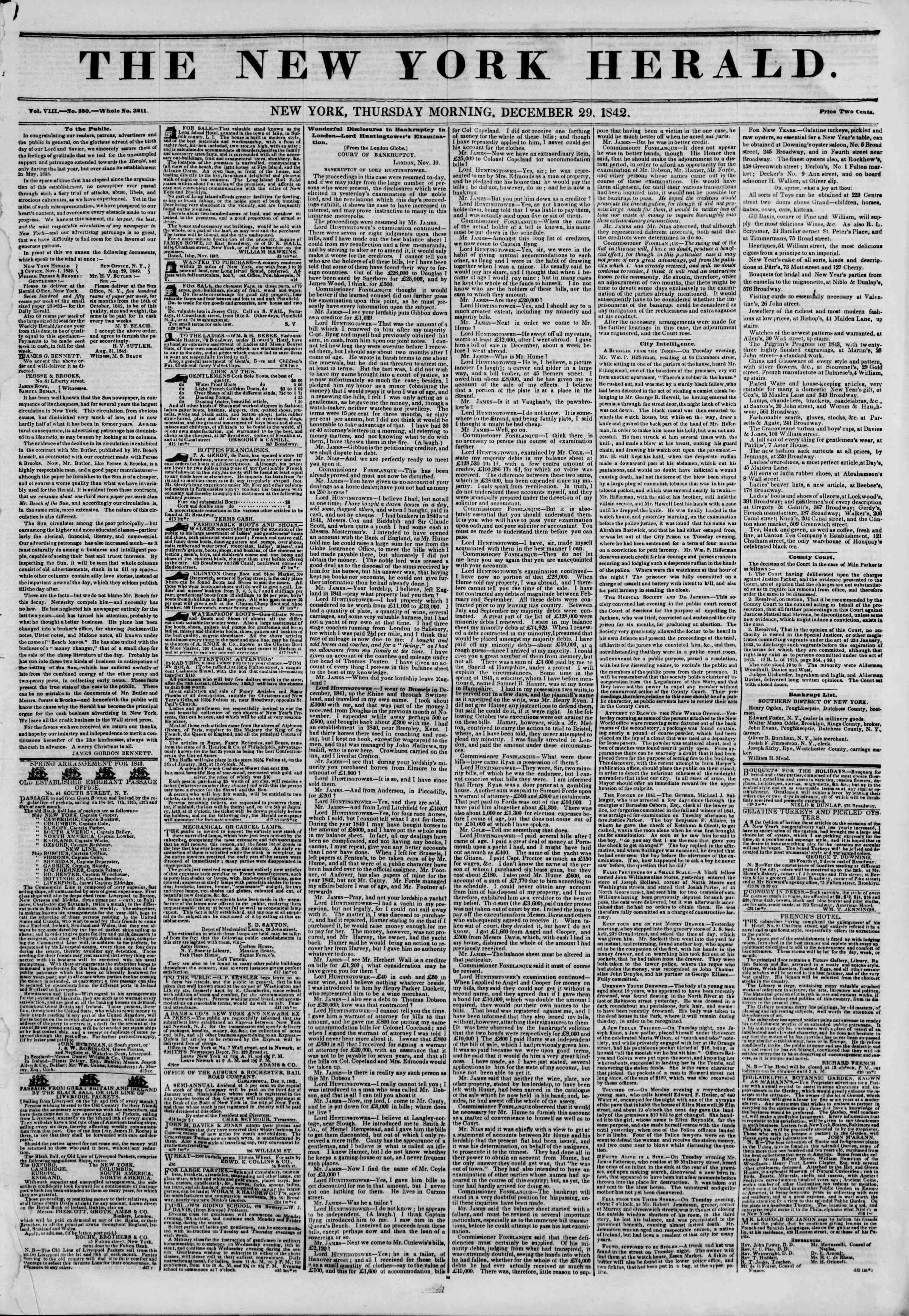 Newspaper of The New York Herald dated December 29, 1842 Page 1