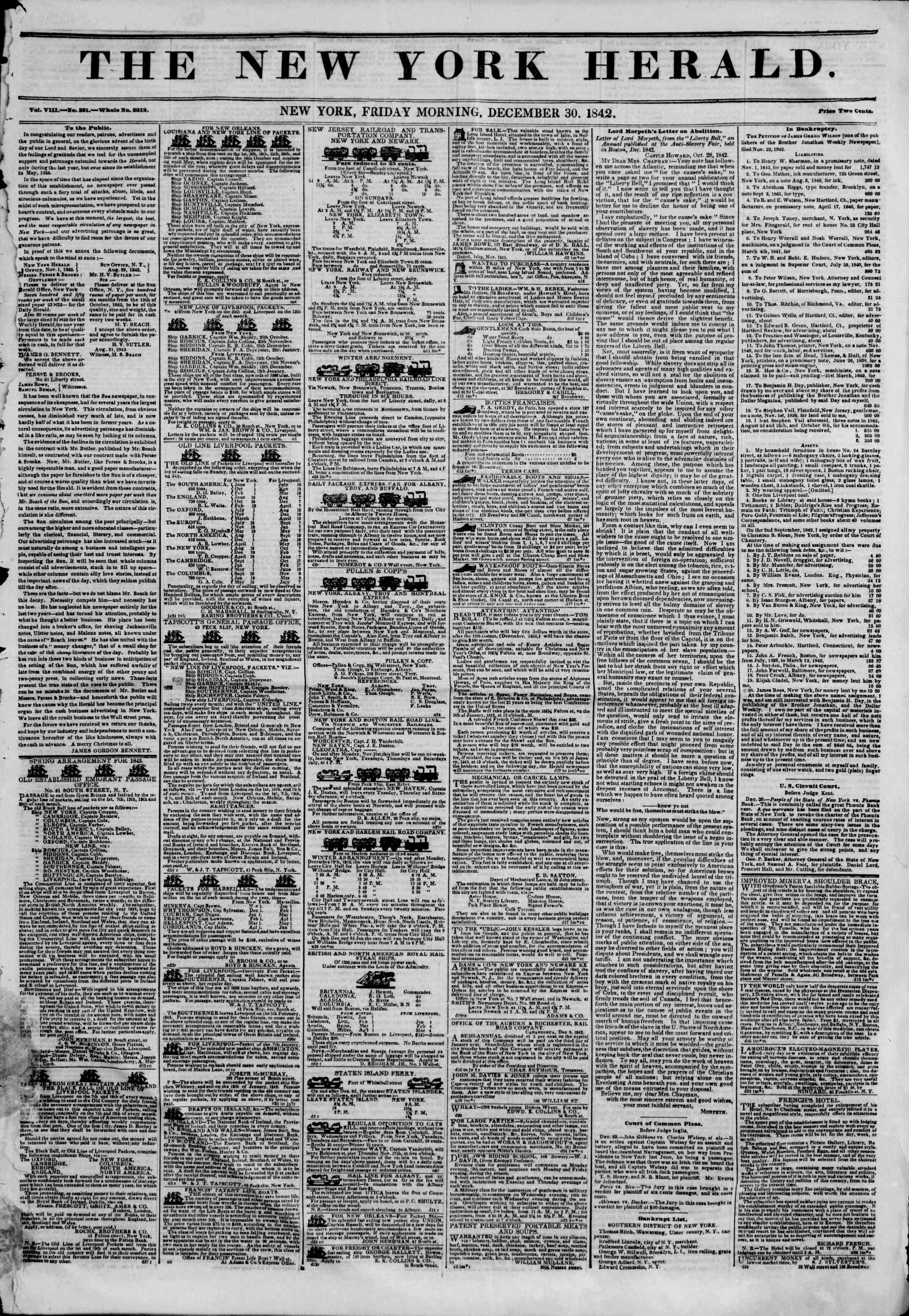 December 30, 1842 Tarihli The New York Herald Gazetesi Sayfa 1