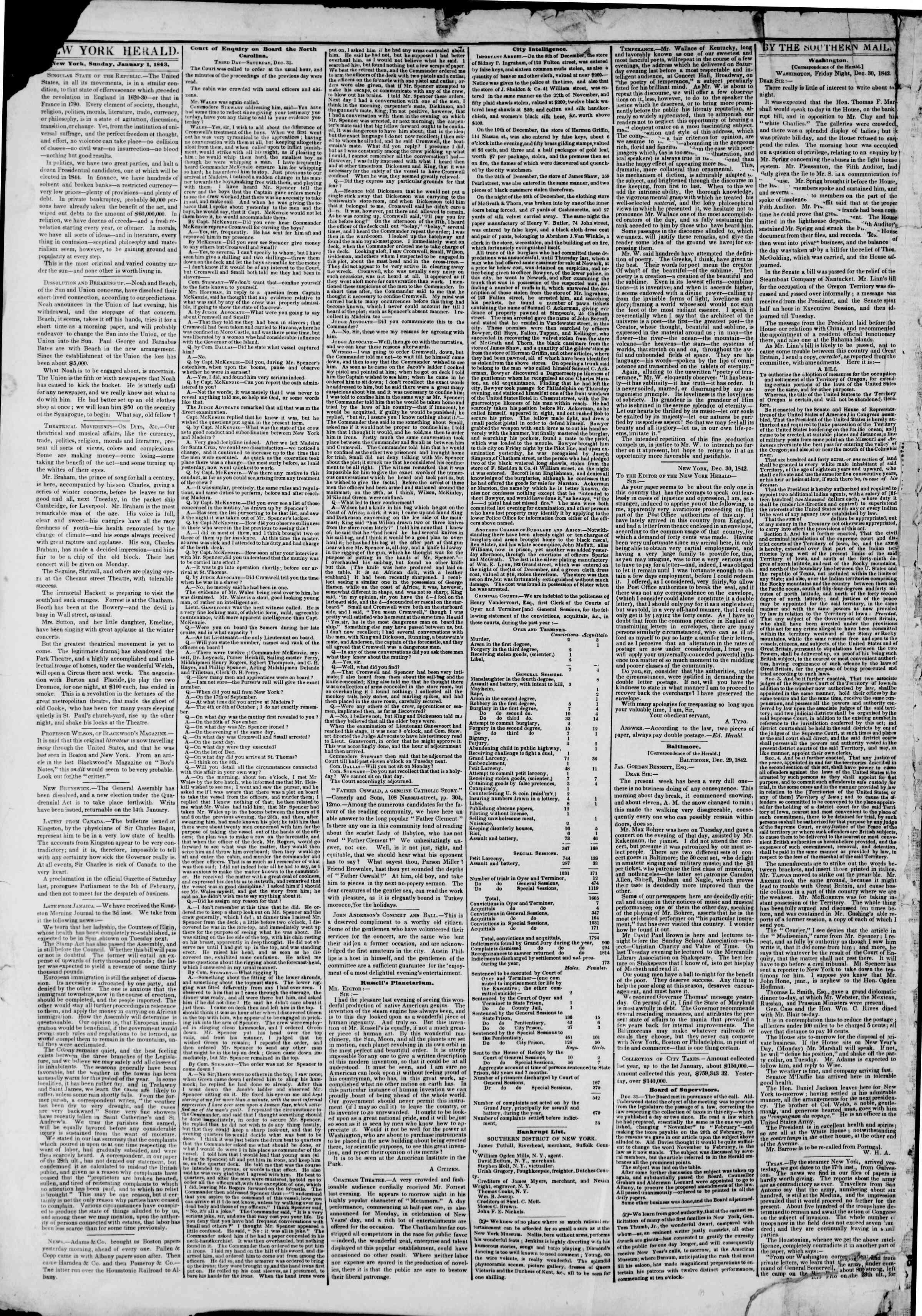 1 Ocak 1843 Tarihli The New York Herald Gazetesi Sayfa 2
