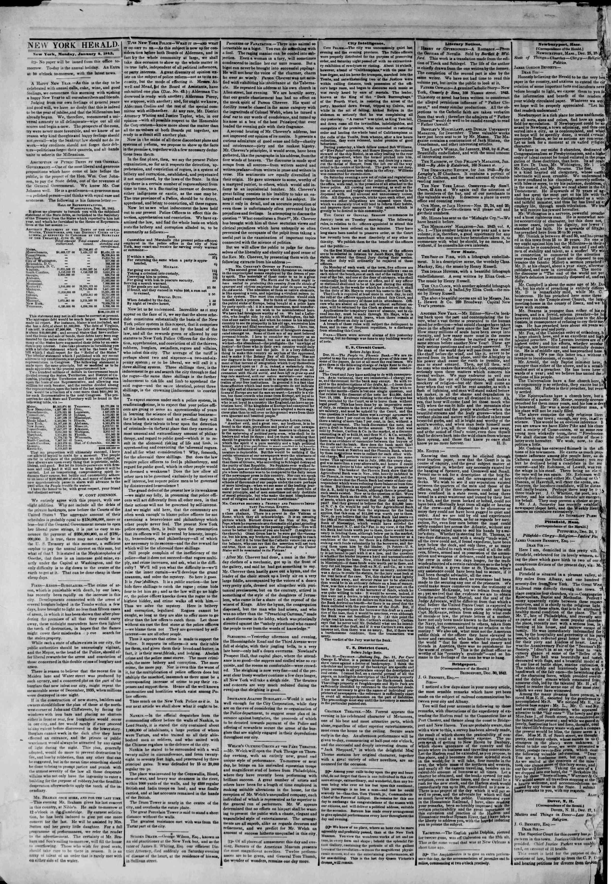 January 2, 1843 Tarihli The New York Herald Gazetesi Sayfa 2
