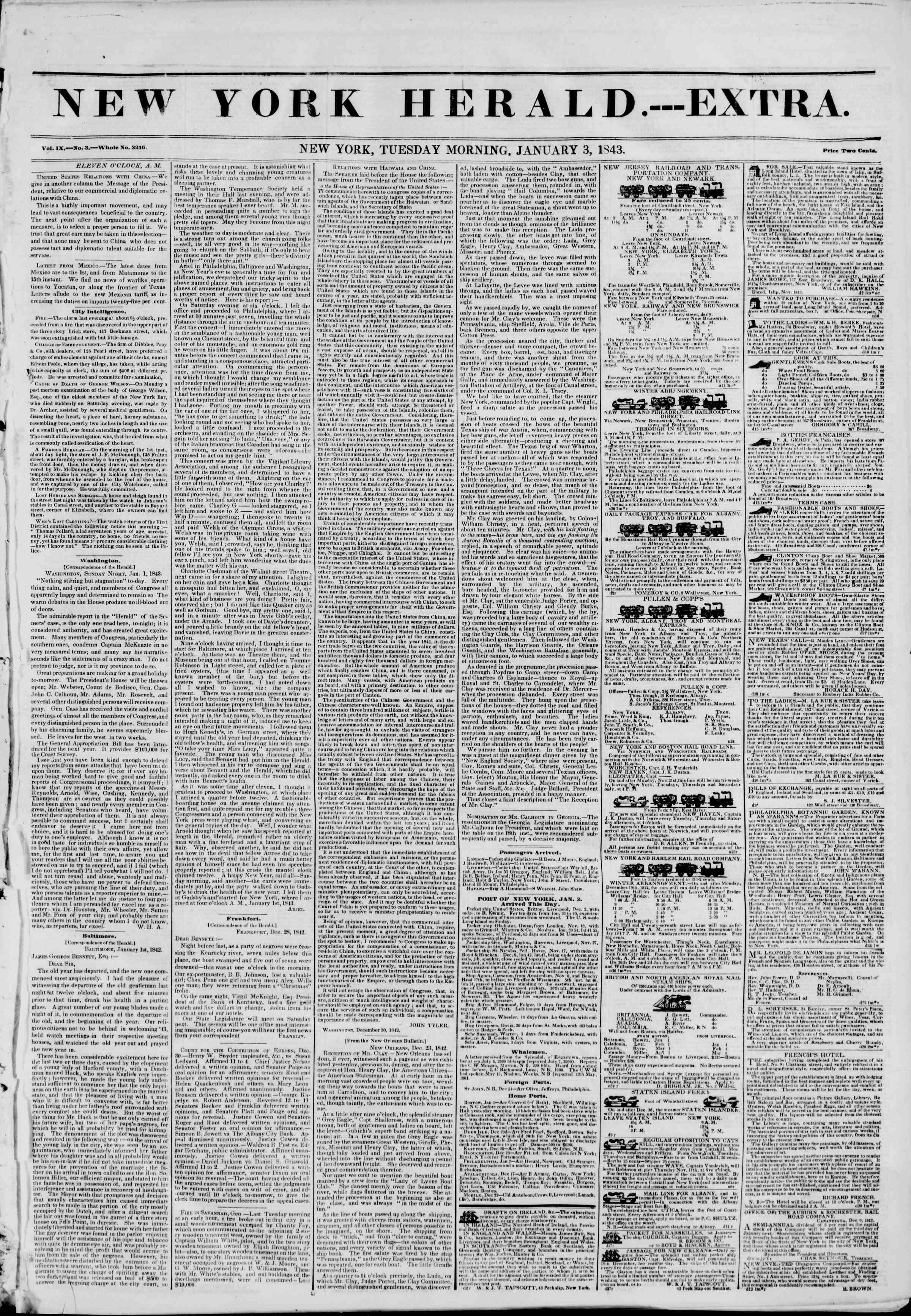 January 3, 1843 Tarihli The New York Herald Gazetesi Sayfa 1