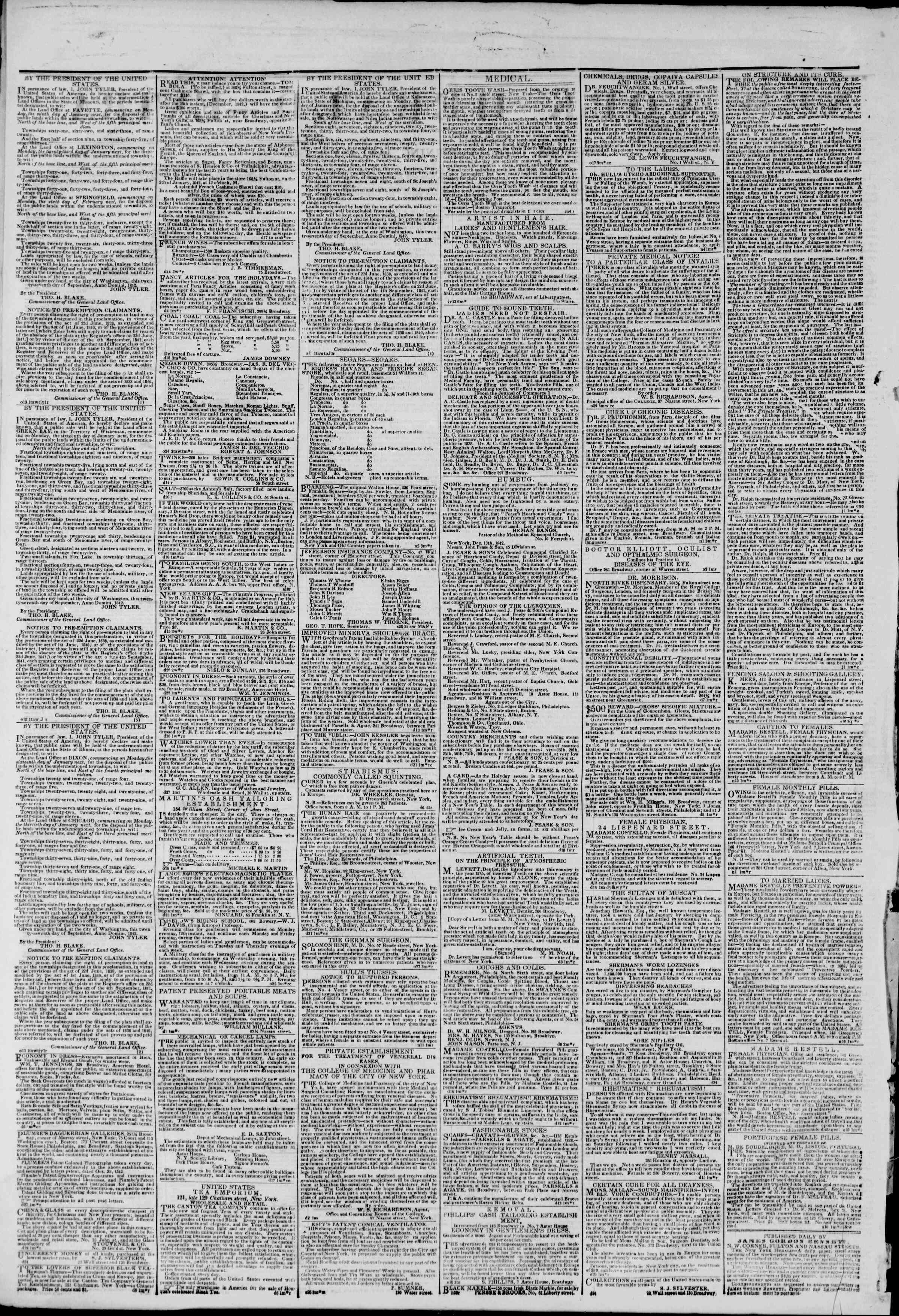 January 3, 1843 Tarihli The New York Herald Gazetesi Sayfa 2