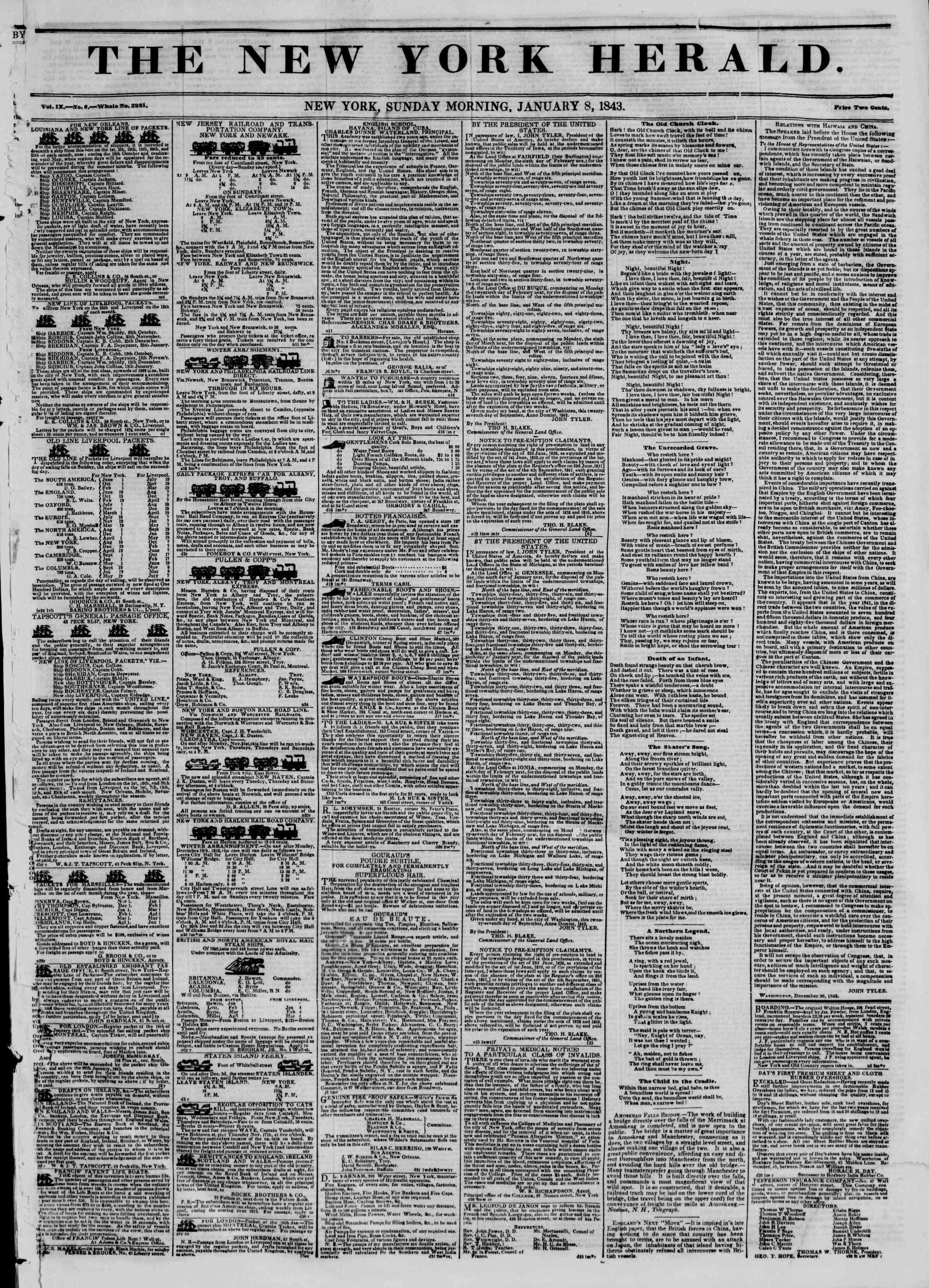January 8, 1843 Tarihli The New York Herald Gazetesi Sayfa 1