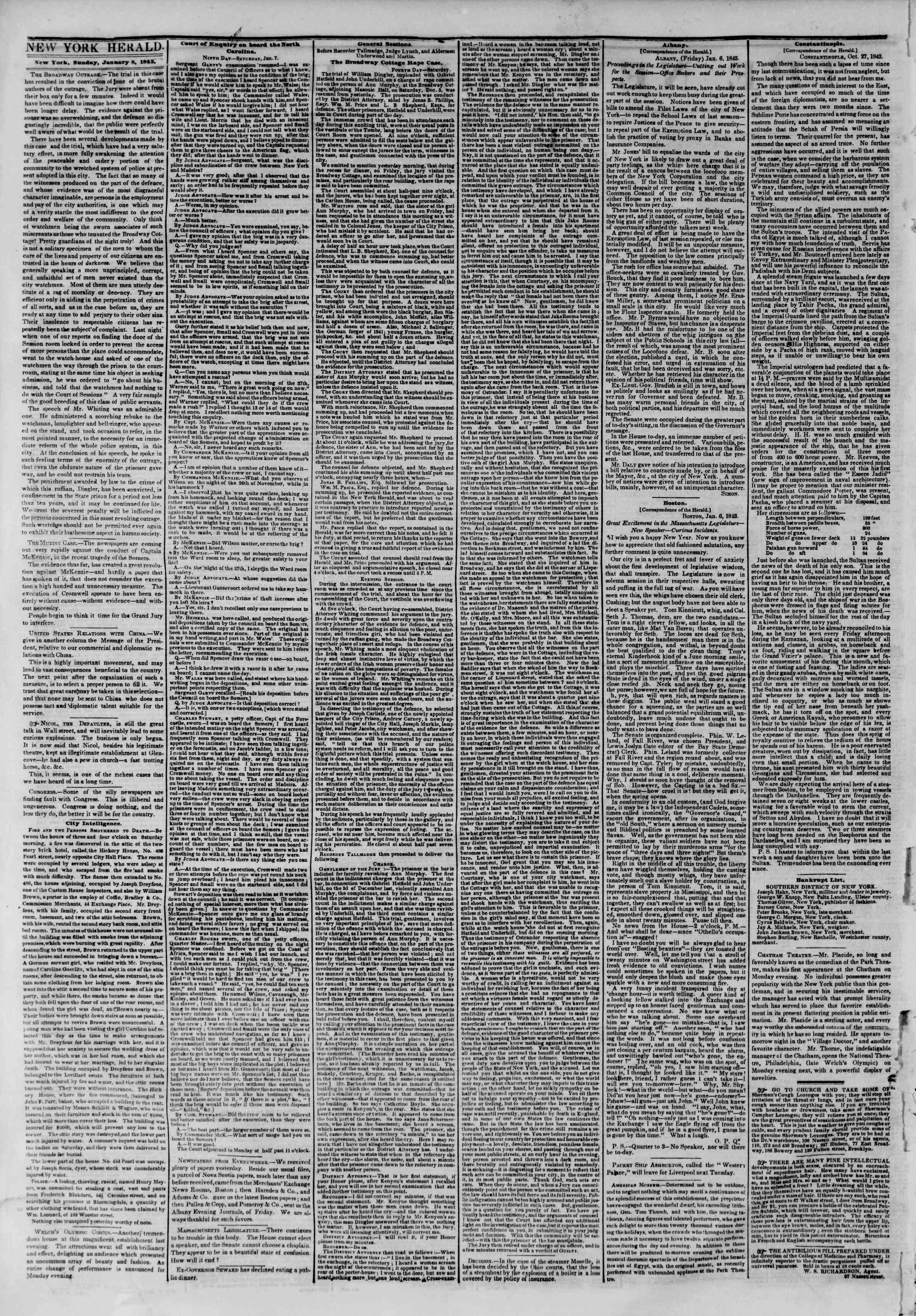 Newspaper of The New York Herald dated January 8, 1843 Page 2