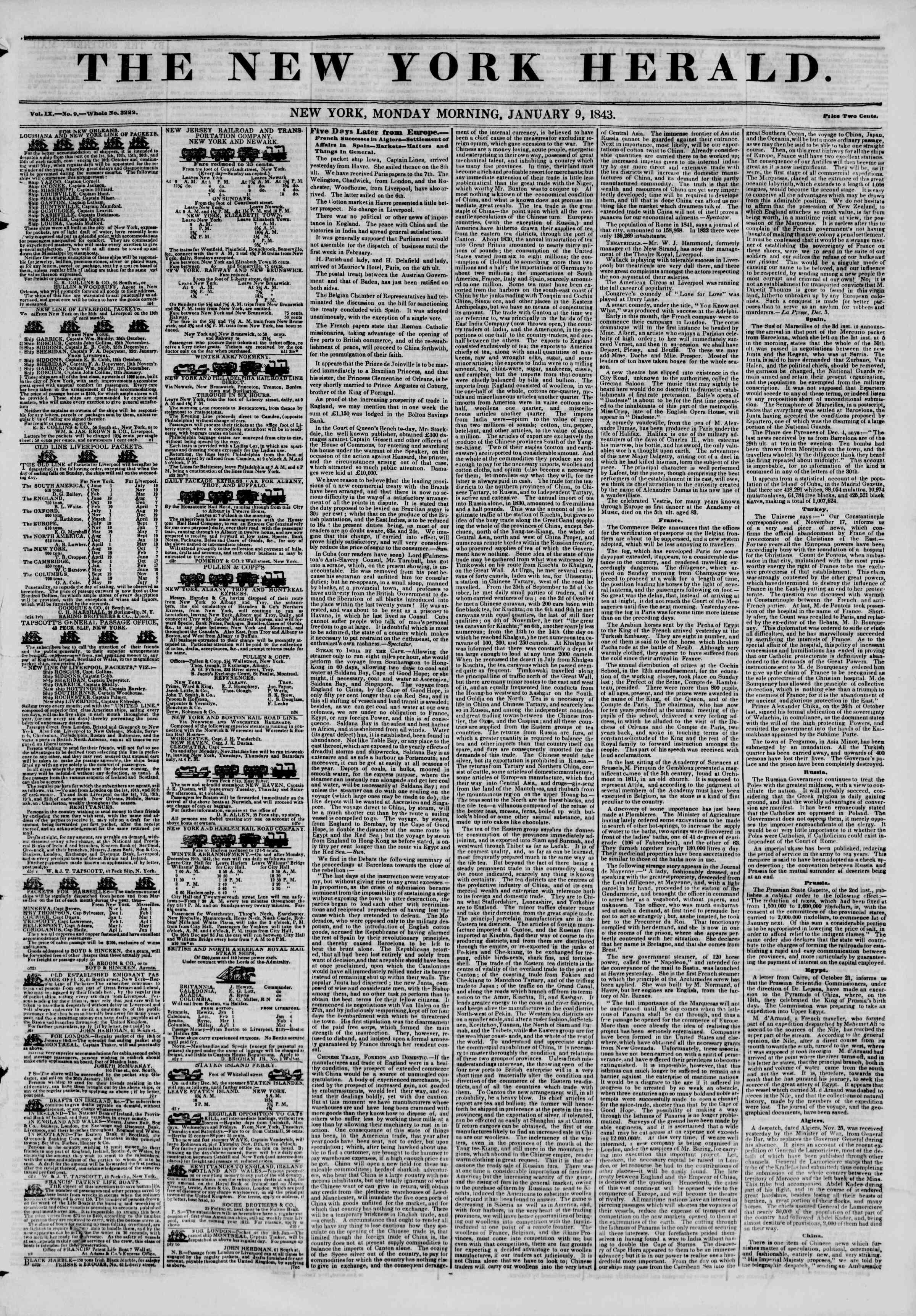 January 9, 1843 Tarihli The New York Herald Gazetesi Sayfa 1
