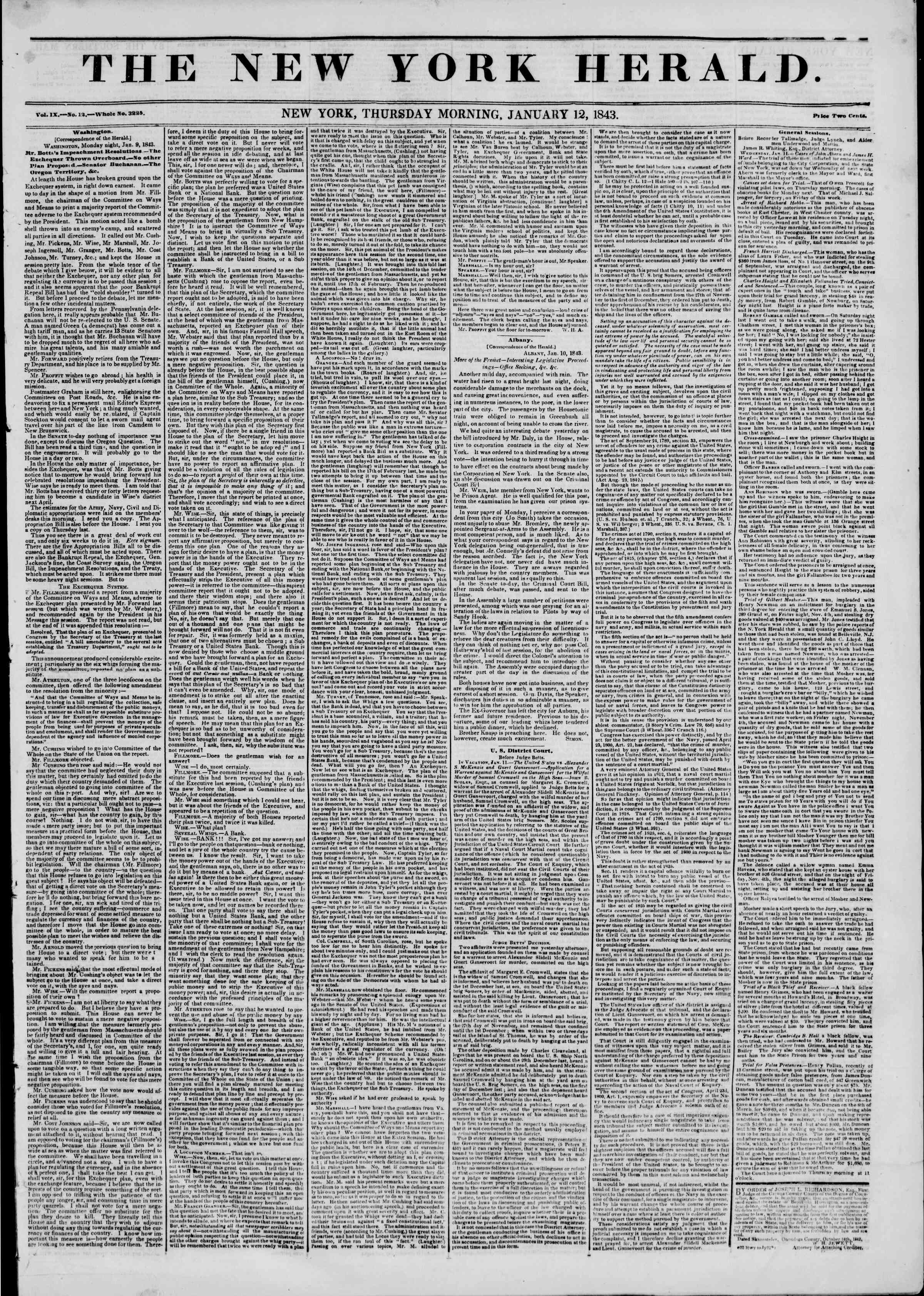 Newspaper of The New York Herald dated January 12, 1843 Page 1