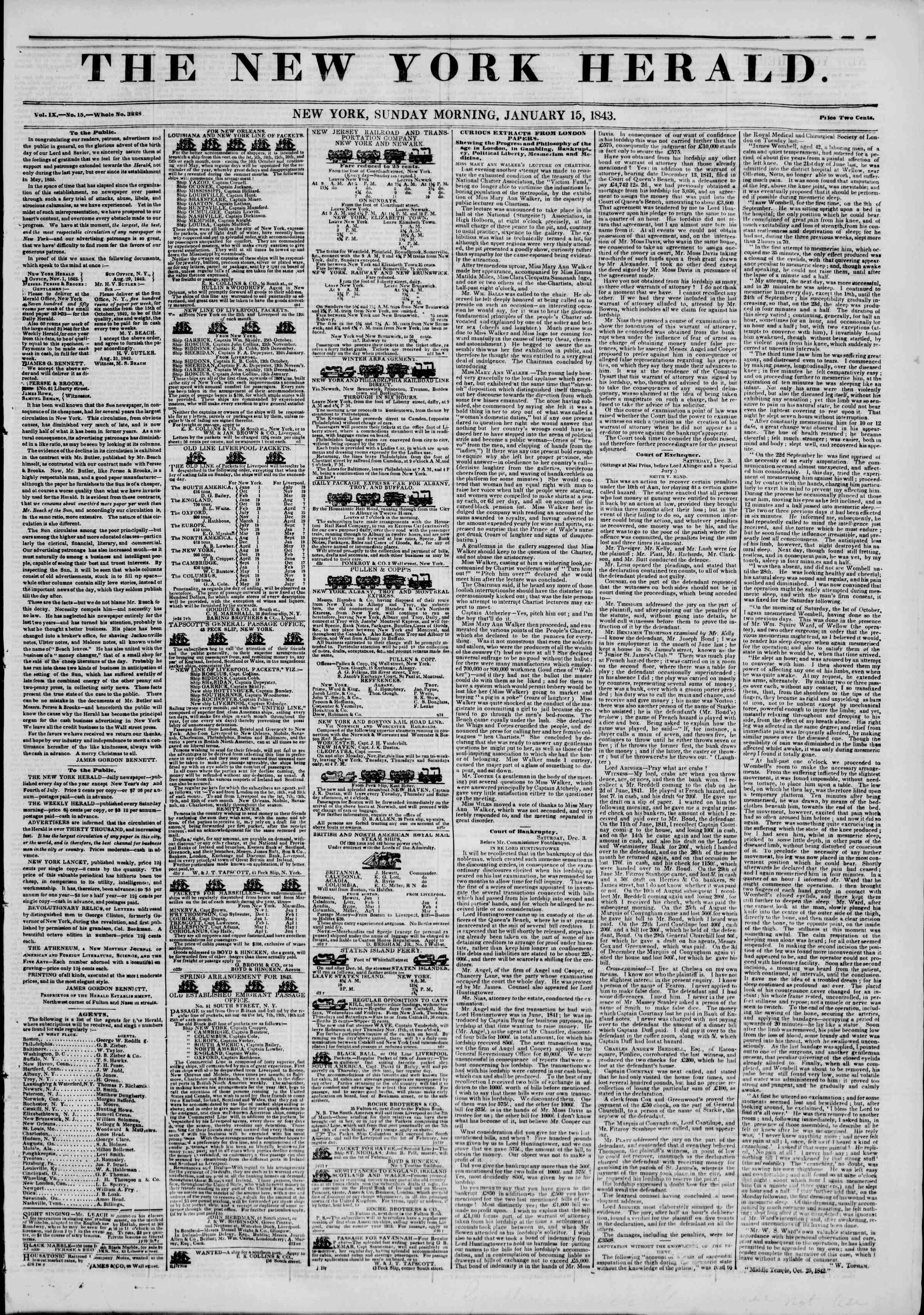 January 15, 1843 Tarihli The New York Herald Gazetesi Sayfa 1