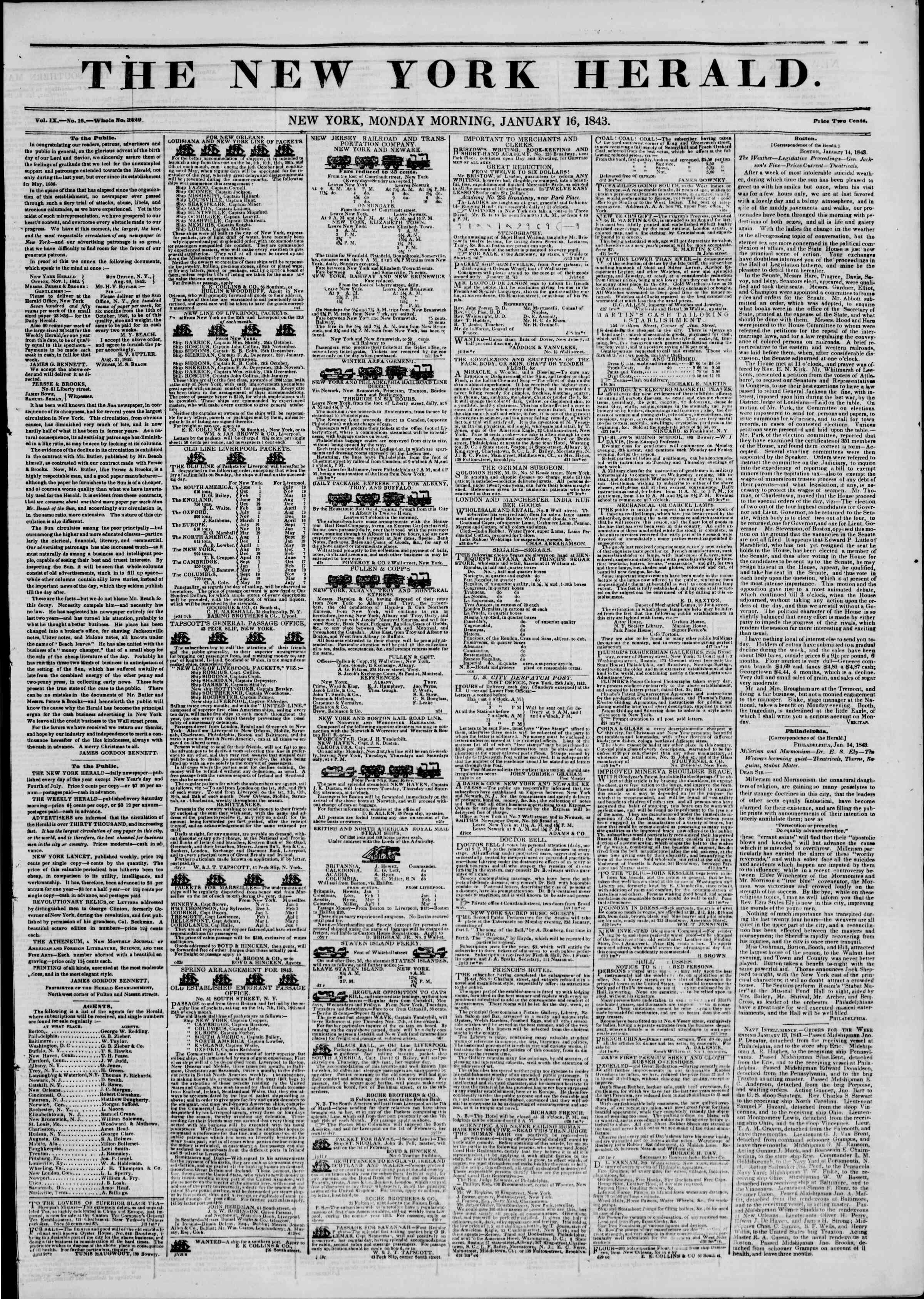 Newspaper of The New York Herald dated January 16, 1843 Page 1