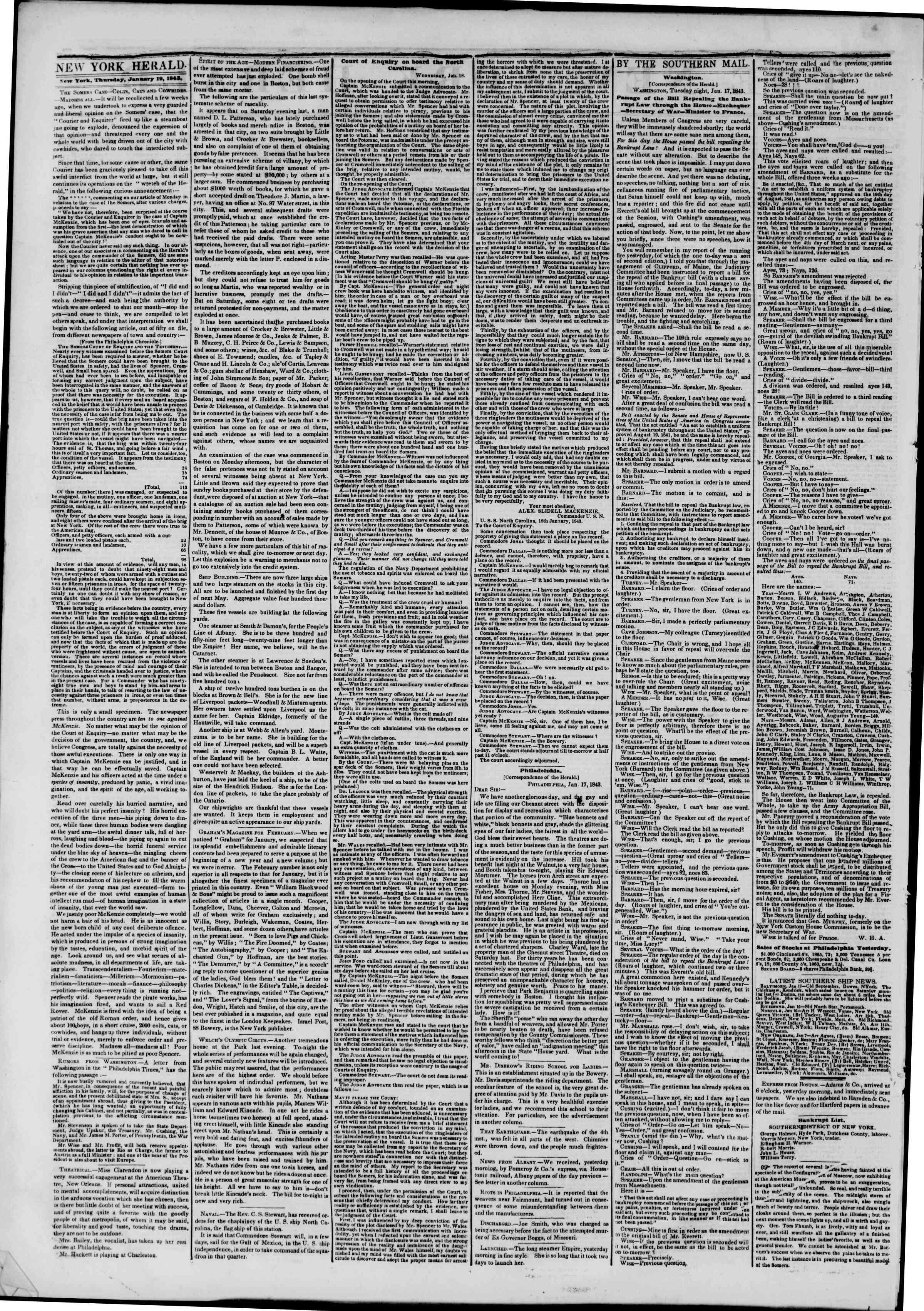 19 Ocak 1843 tarihli The New York Herald Gazetesi Sayfa 2