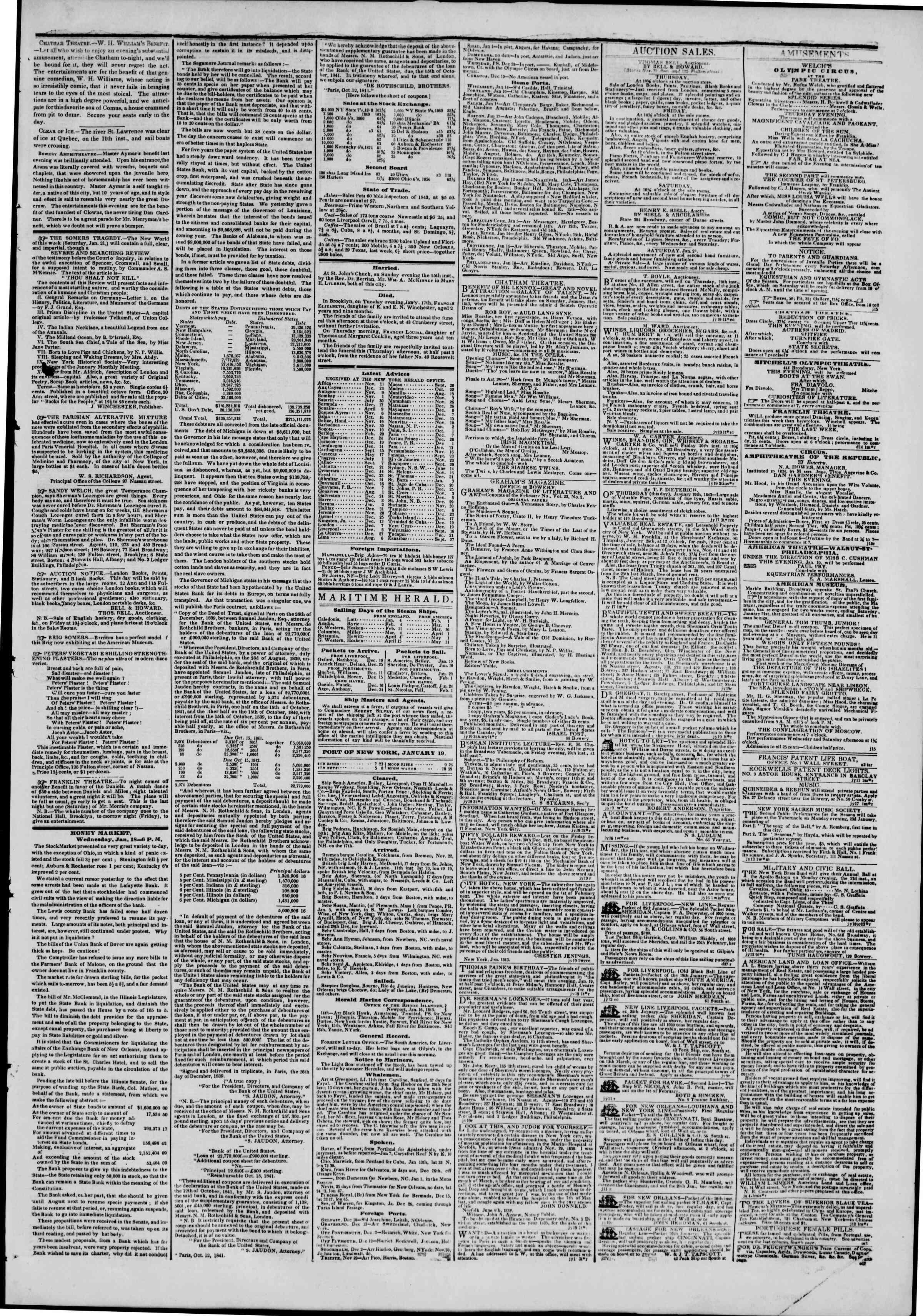January 19, 1843 Tarihli The New York Herald Gazetesi Sayfa 3