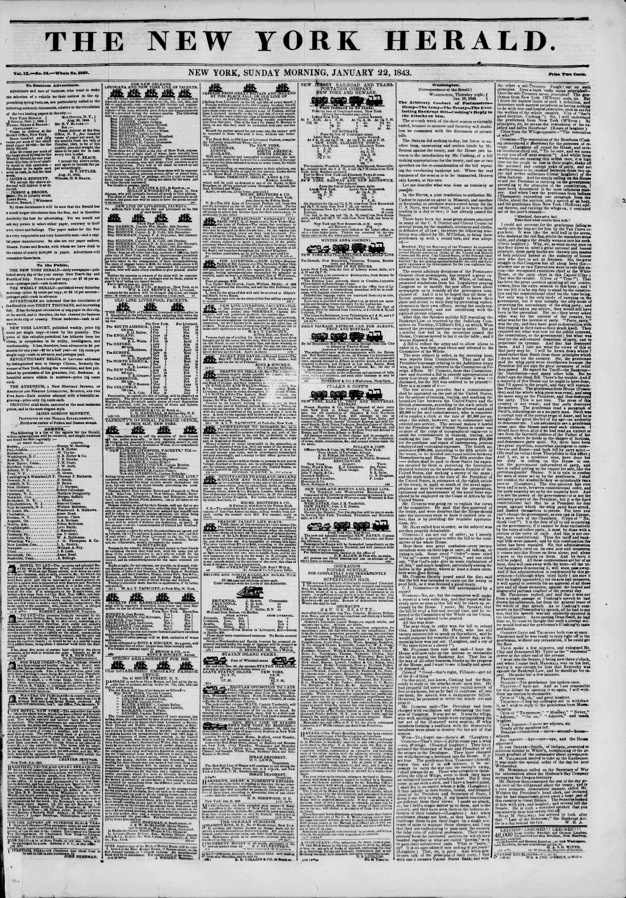 January 22, 1843 Tarihli The New York Herald Gazetesi Sayfa 1