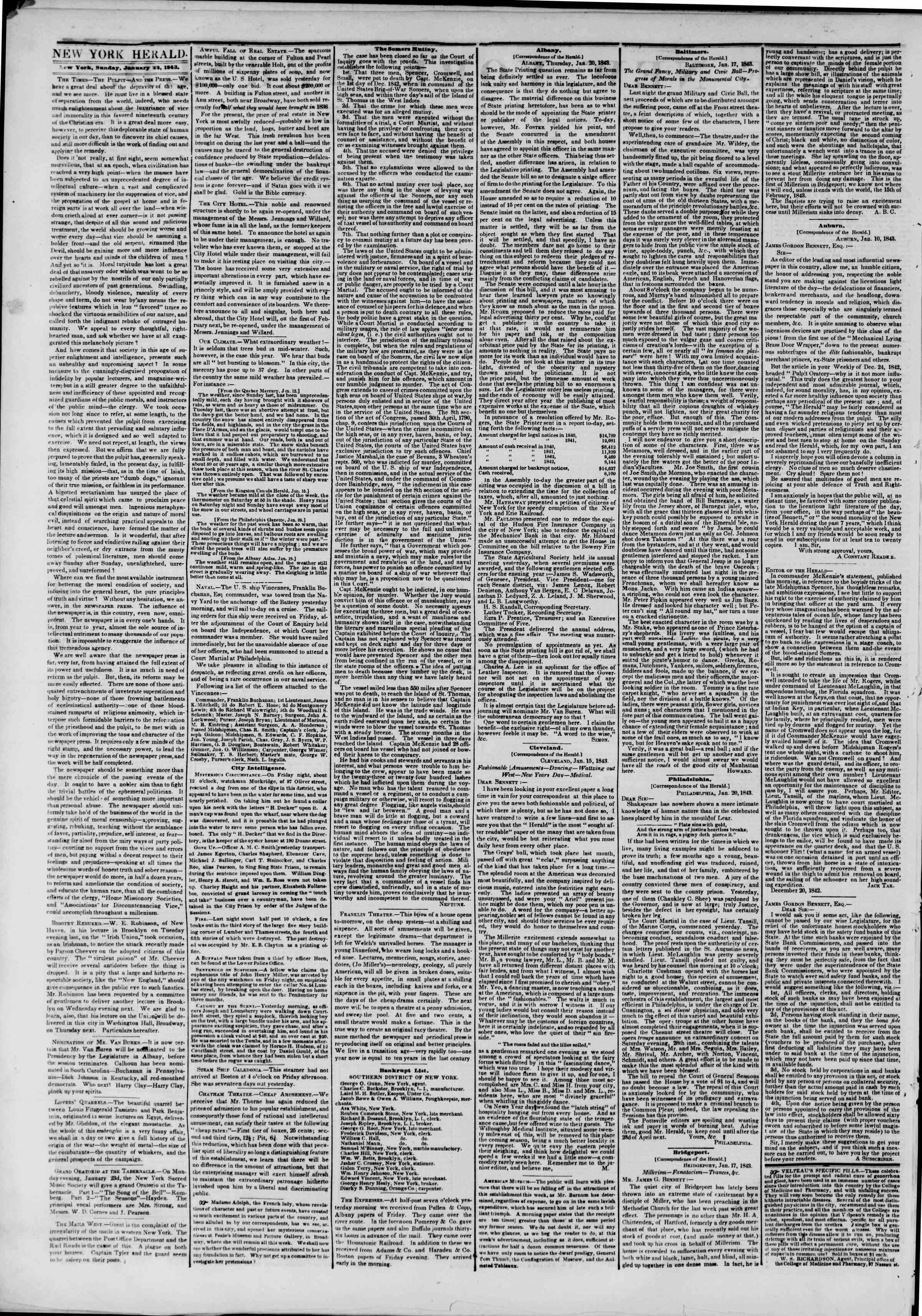 Newspaper of The New York Herald dated January 22, 1843 Page 2