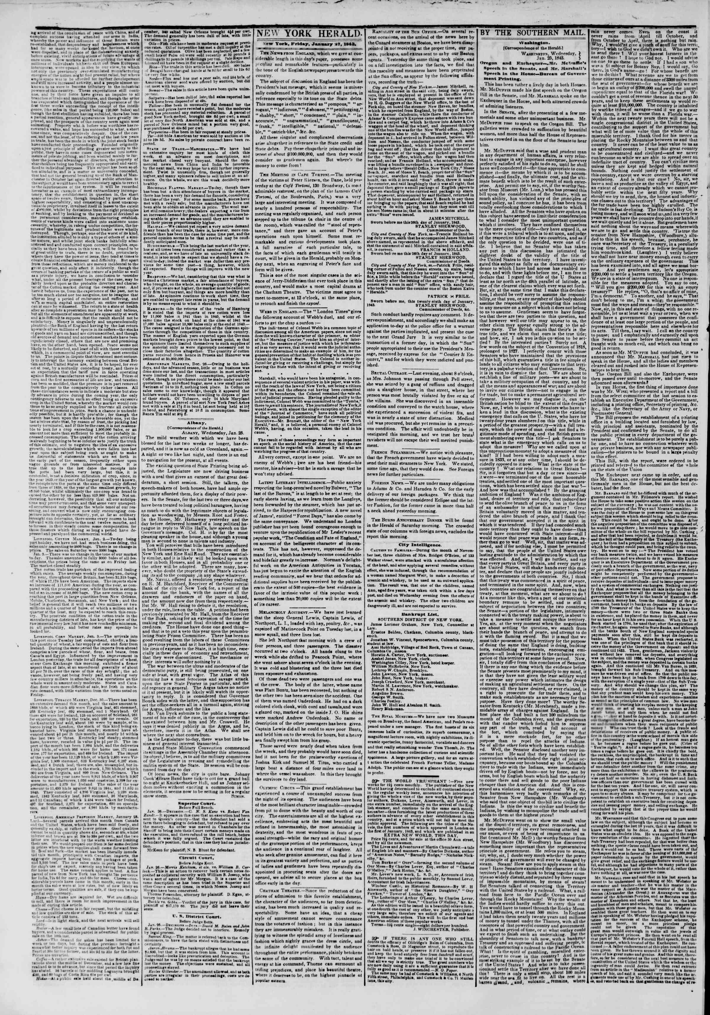 January 27, 1843 Tarihli The New York Herald Gazetesi Sayfa 2