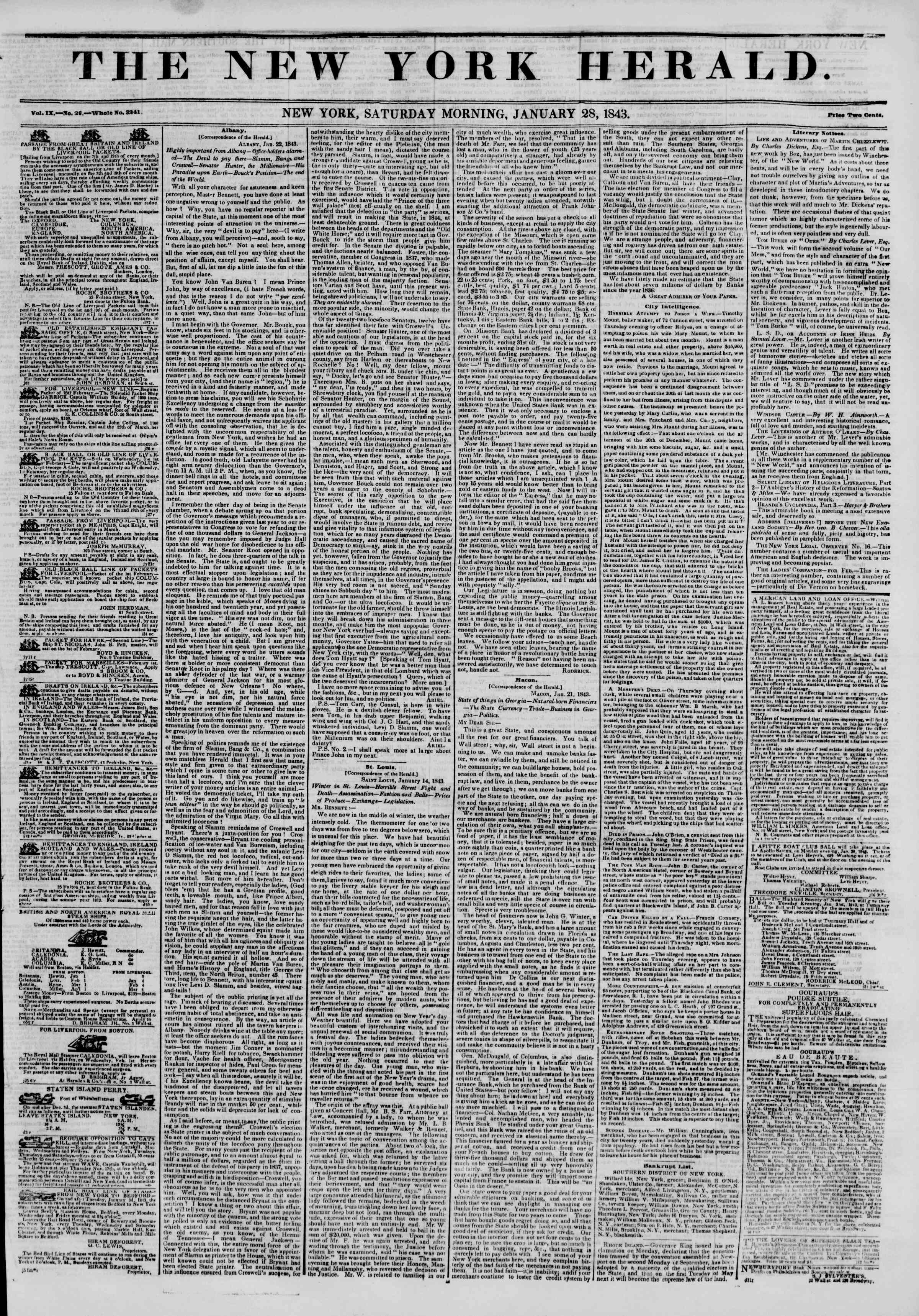Newspaper of The New York Herald dated January 28, 1843 Page 1