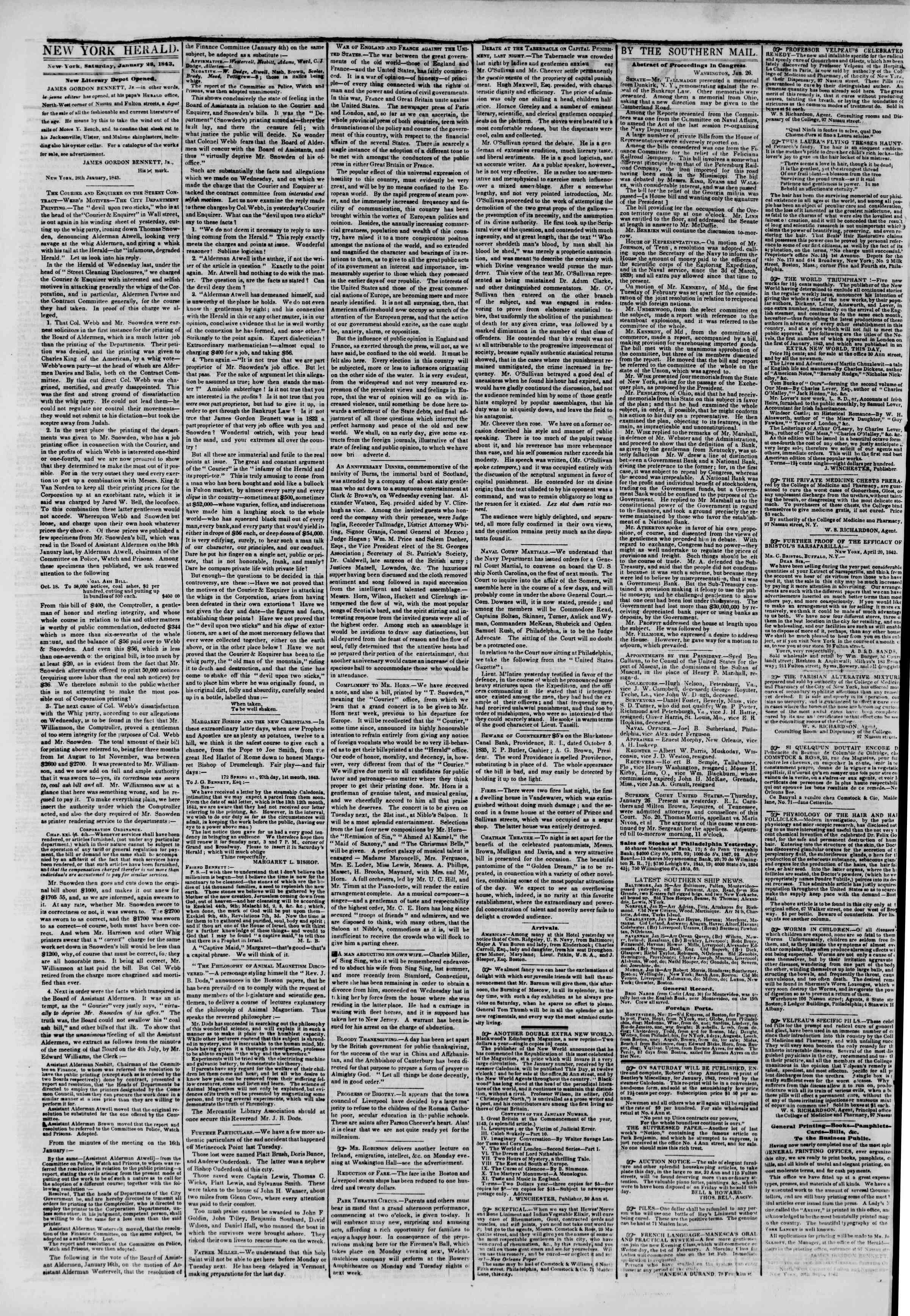 Newspaper of The New York Herald dated January 28, 1843 Page 2