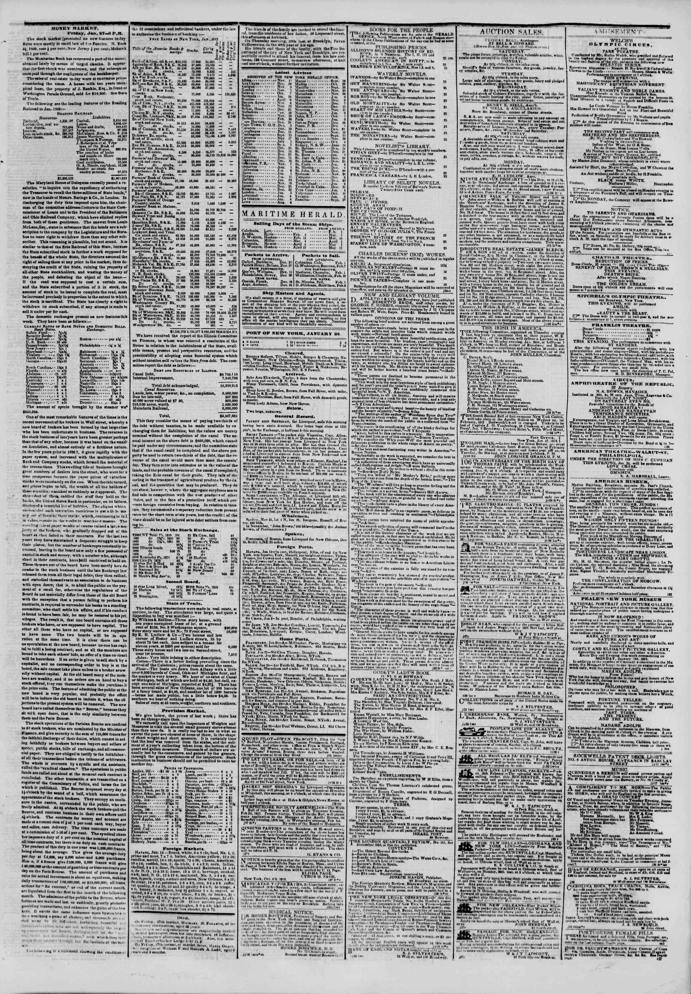 January 28, 1843 Tarihli The New York Herald Gazetesi Sayfa 3