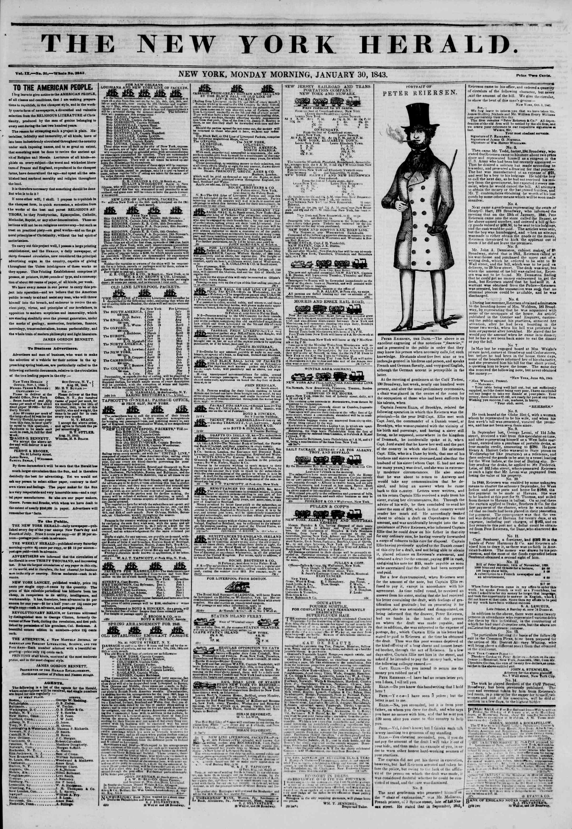 January 30, 1843 Tarihli The New York Herald Gazetesi Sayfa 1