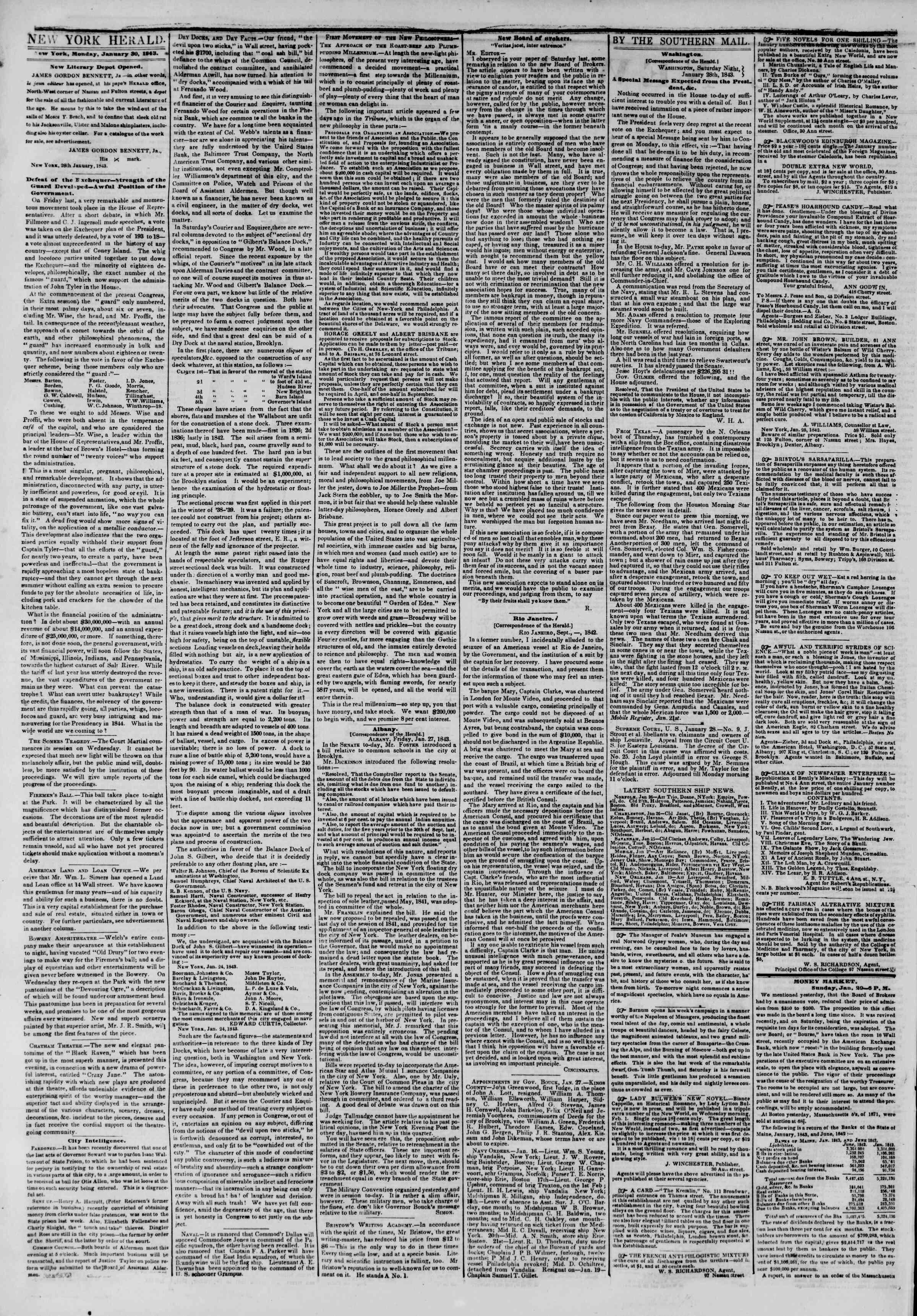 30 Ocak 1843 Tarihli The New York Herald Gazetesi Sayfa 2
