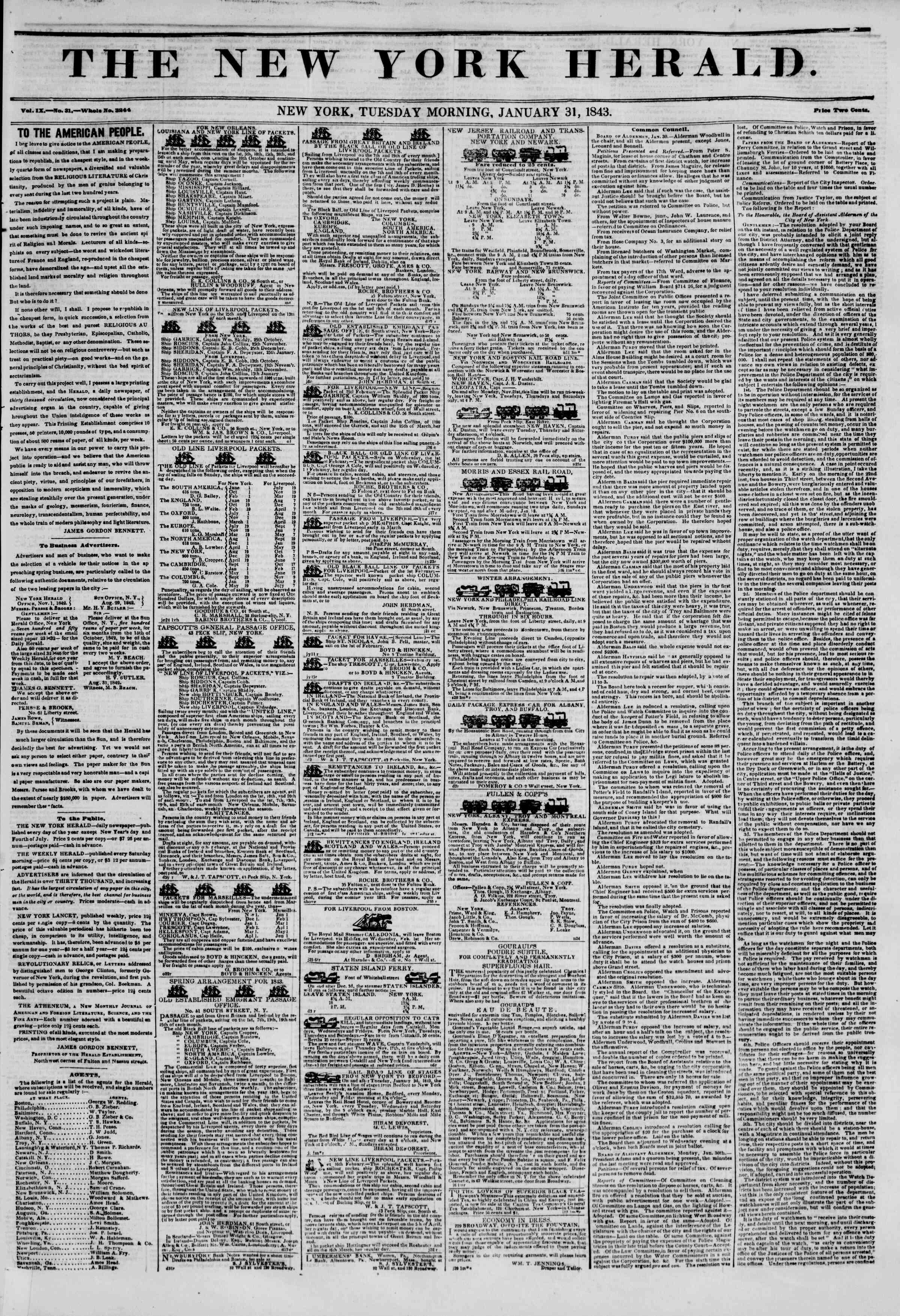January 31, 1843 Tarihli The New York Herald Gazetesi Sayfa 1