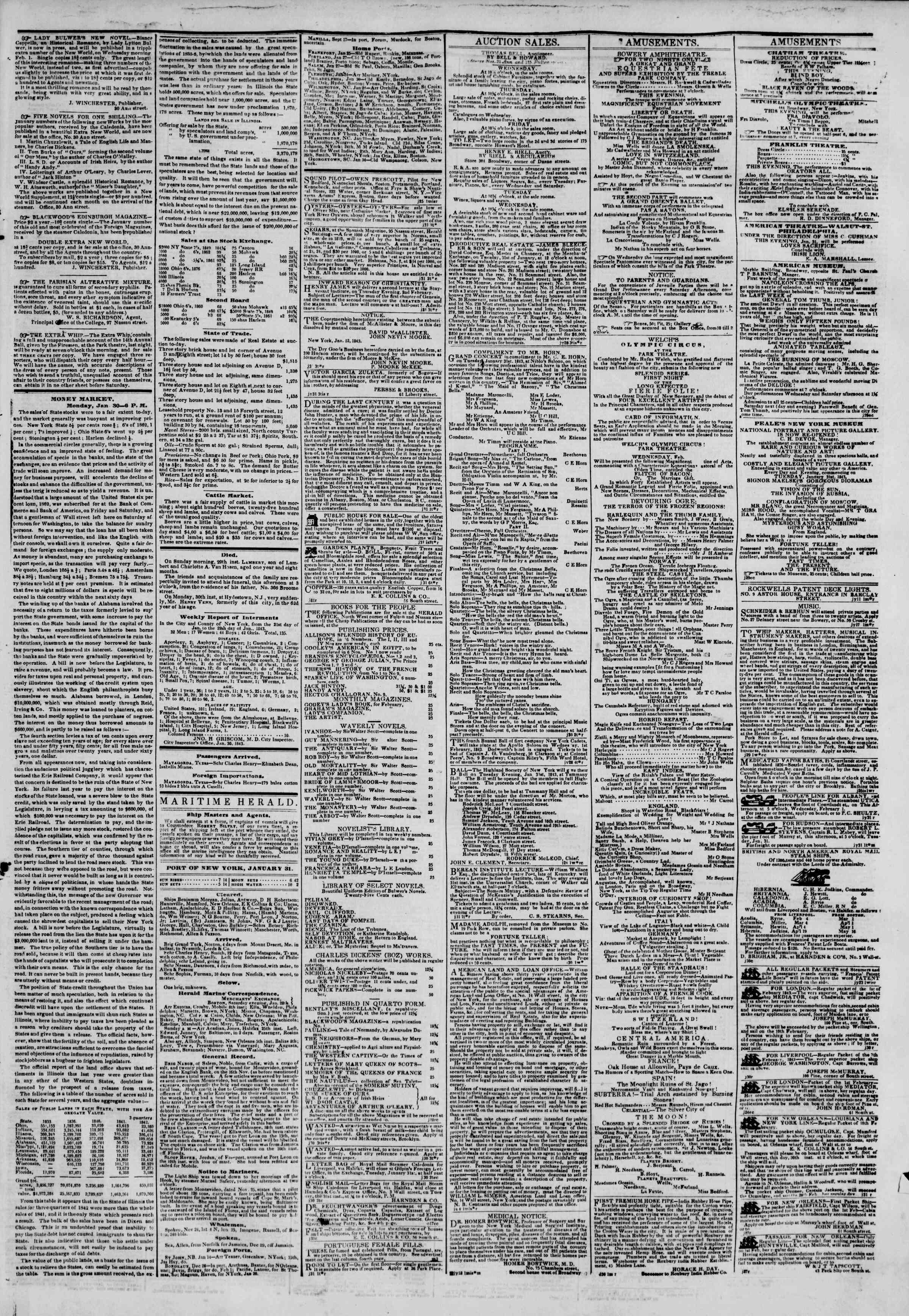 January 31, 1843 Tarihli The New York Herald Gazetesi Sayfa 3