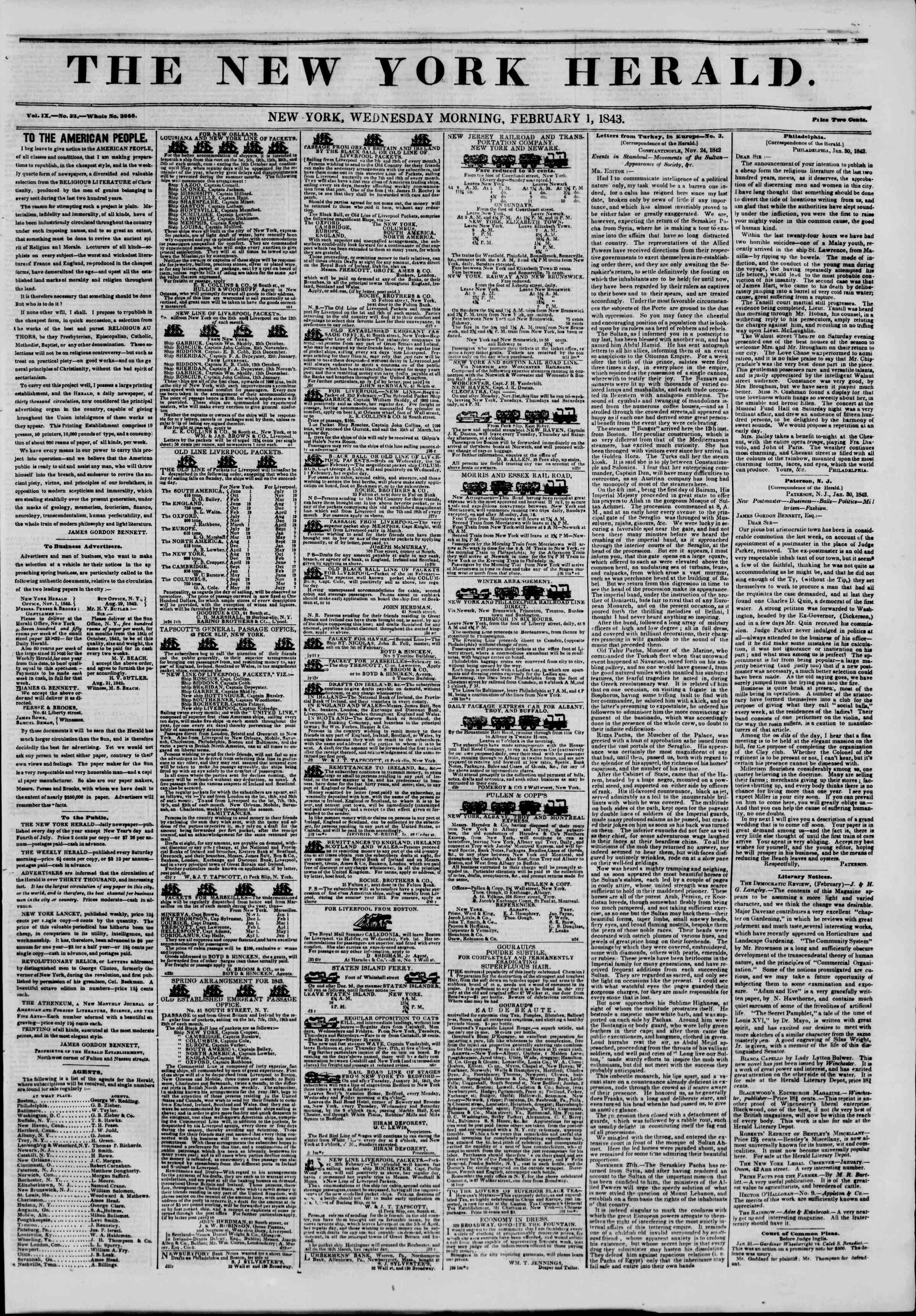 February 1, 1843 Tarihli The New York Herald Gazetesi Sayfa 1