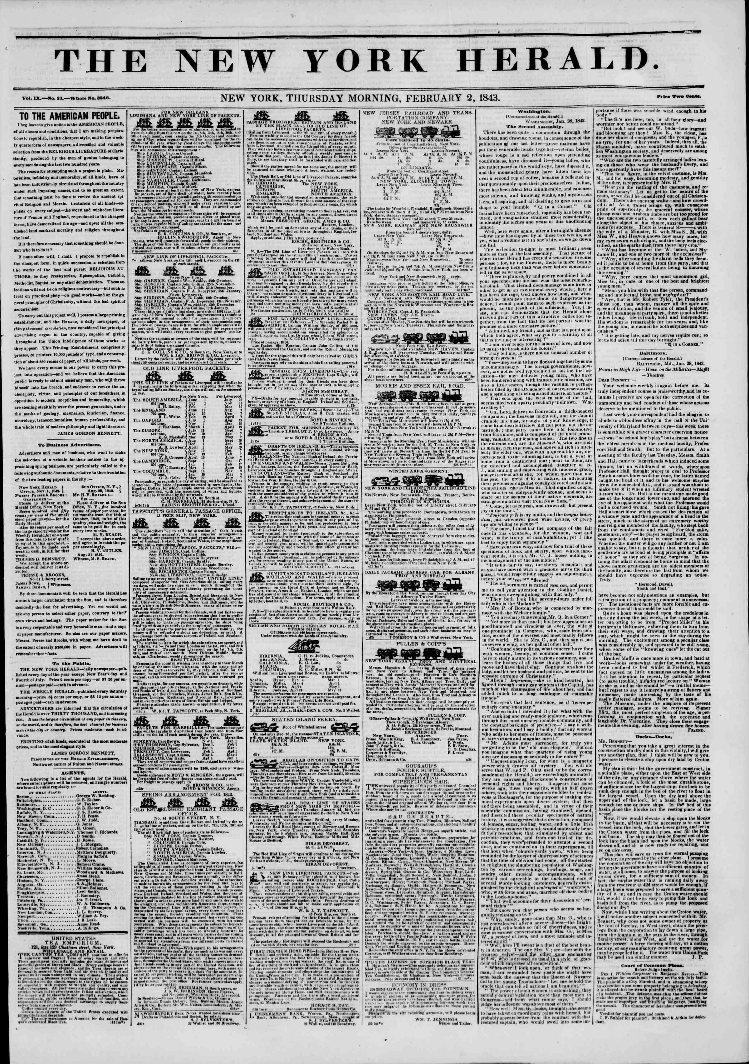 February 2, 1843 Tarihli The New York Herald Gazetesi Sayfa 1