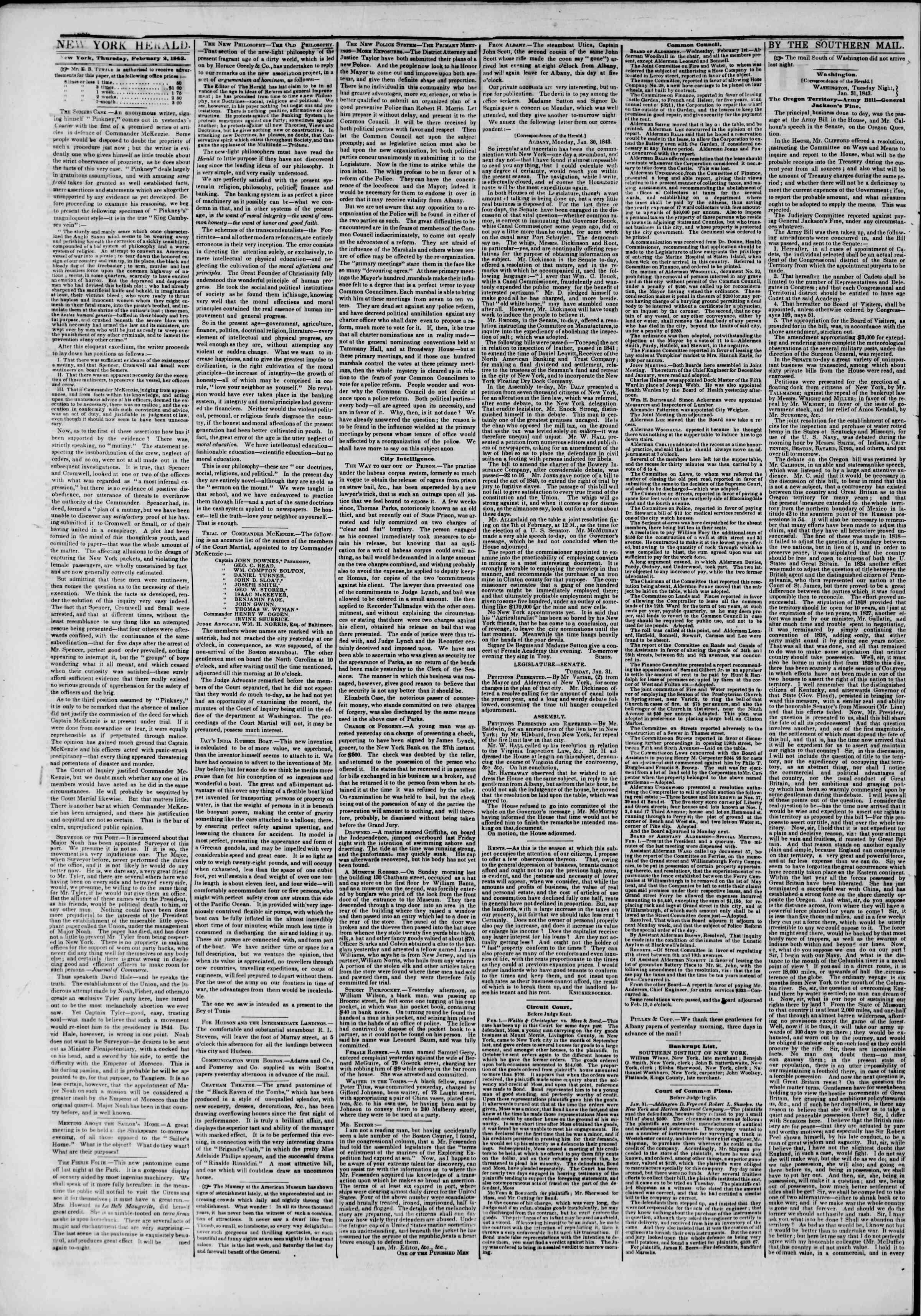 2 Şubat 1843 Tarihli The New York Herald Gazetesi Sayfa 2