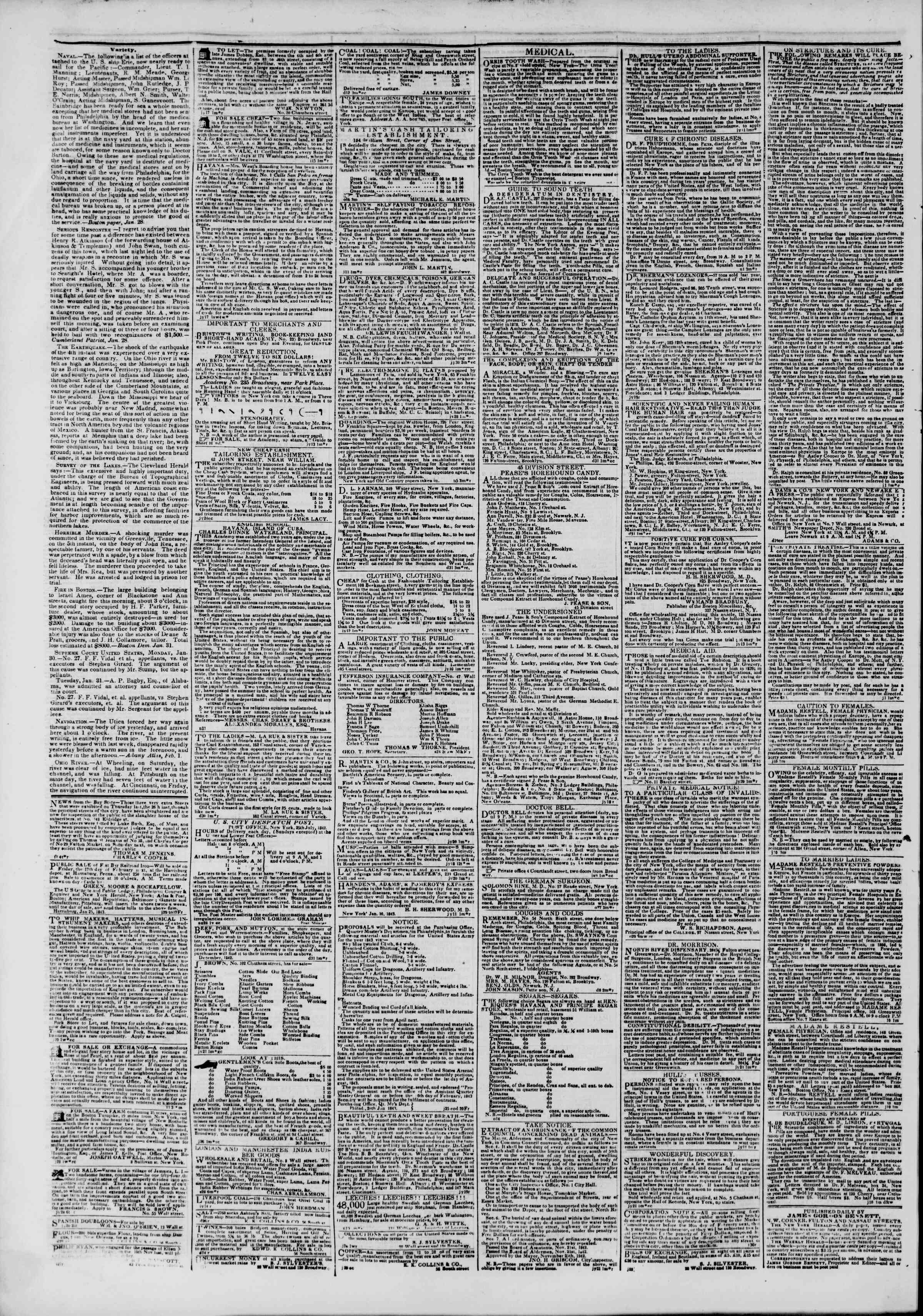 Newspaper of The New York Herald dated February 2, 1843 Page 3
