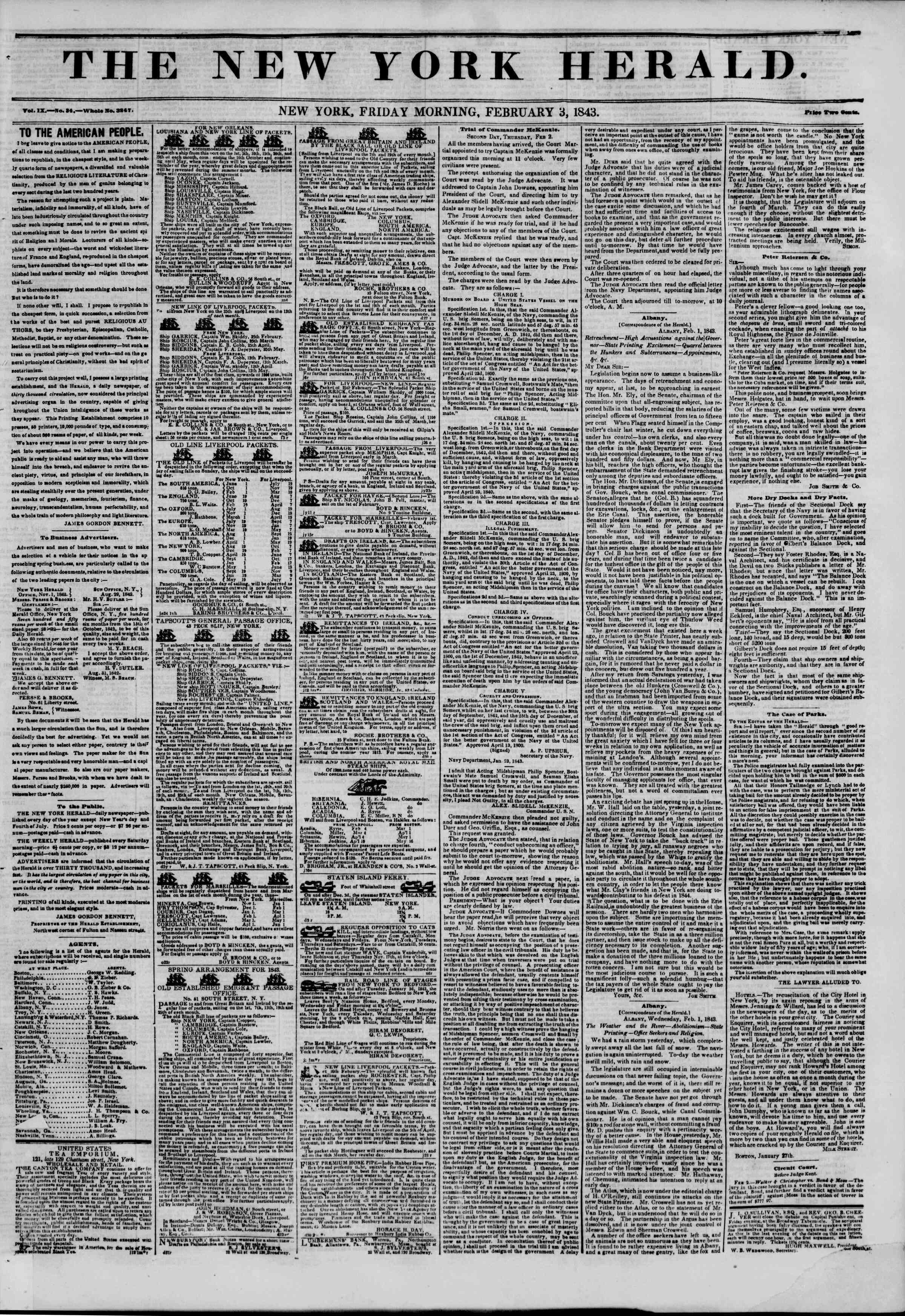 February 3, 1843 Tarihli The New York Herald Gazetesi Sayfa 1