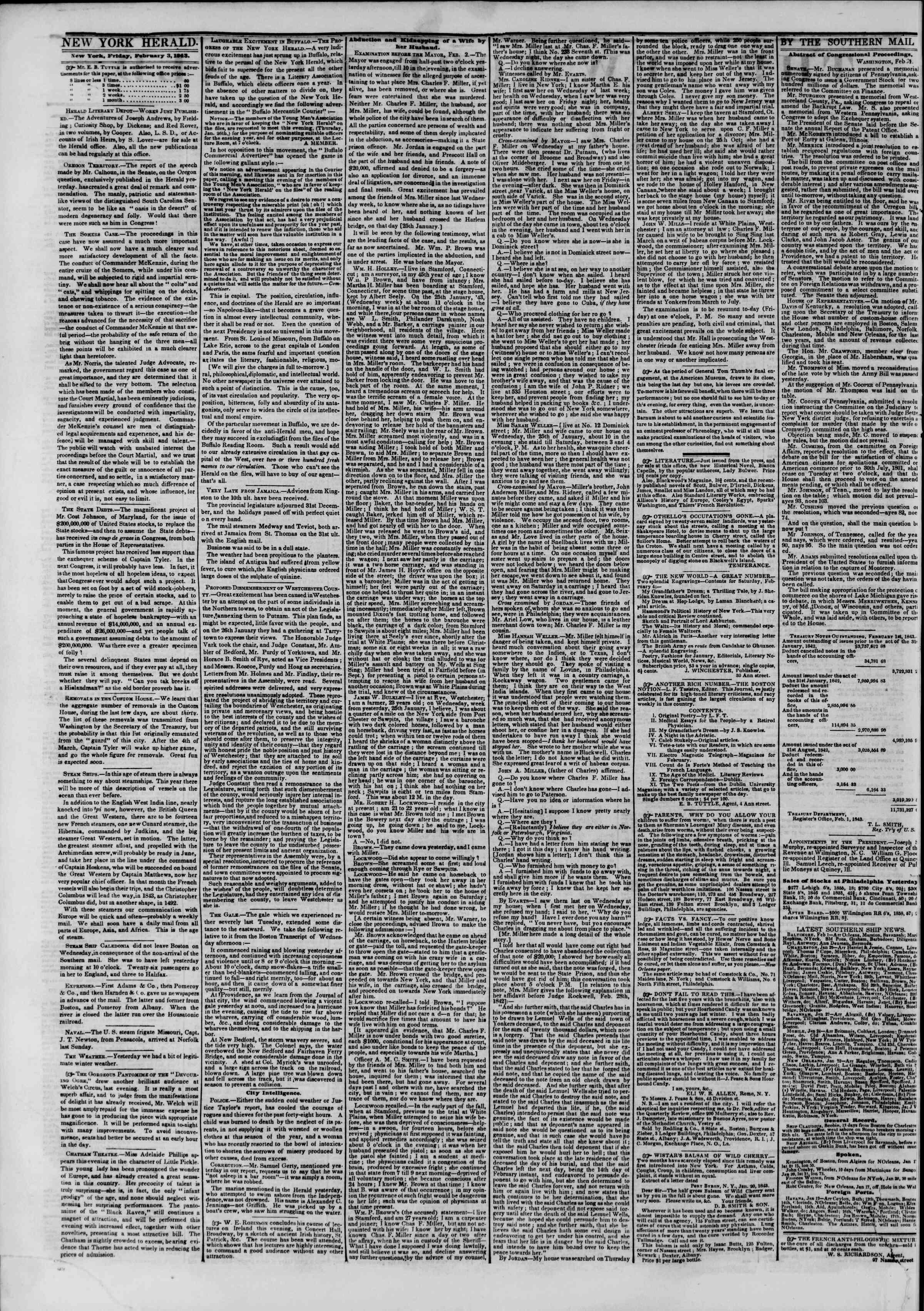 February 3, 1843 Tarihli The New York Herald Gazetesi Sayfa 2