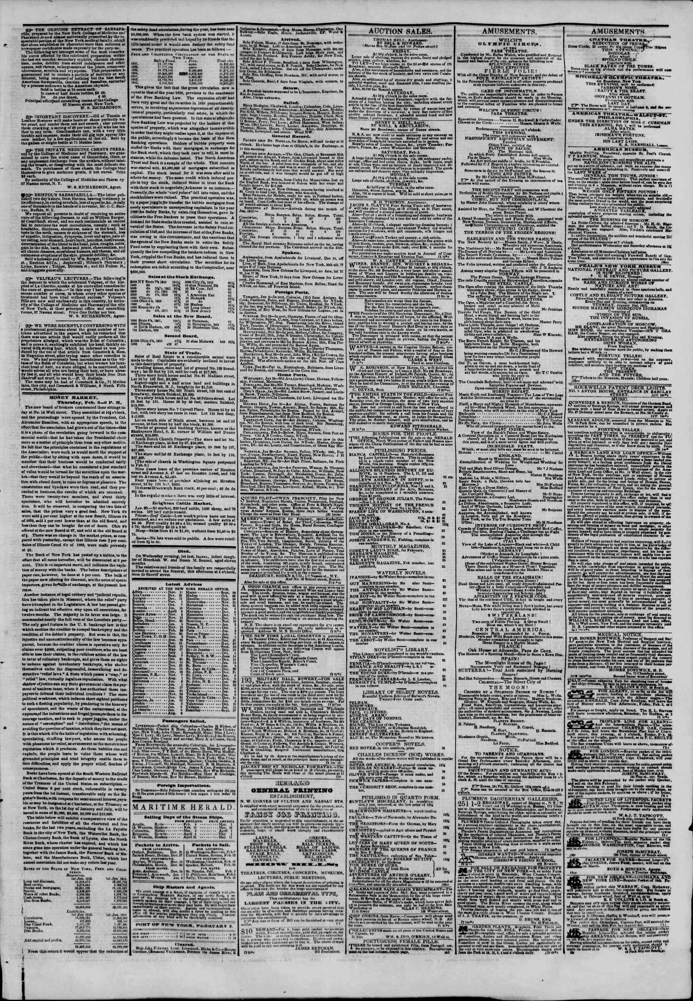 Newspaper of The New York Herald dated February 3, 1843 Page 3