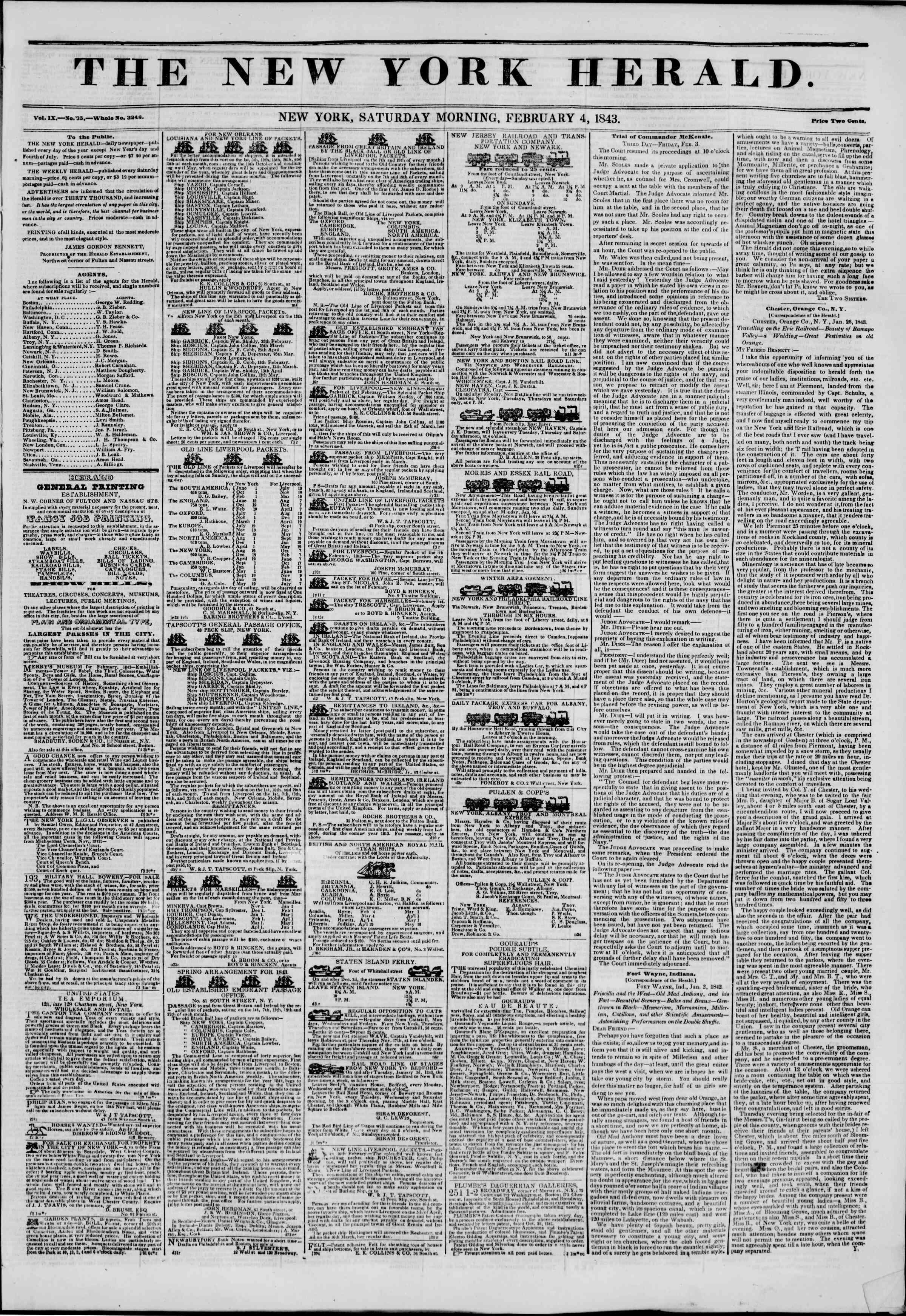 February 4, 1843 Tarihli The New York Herald Gazetesi Sayfa 1