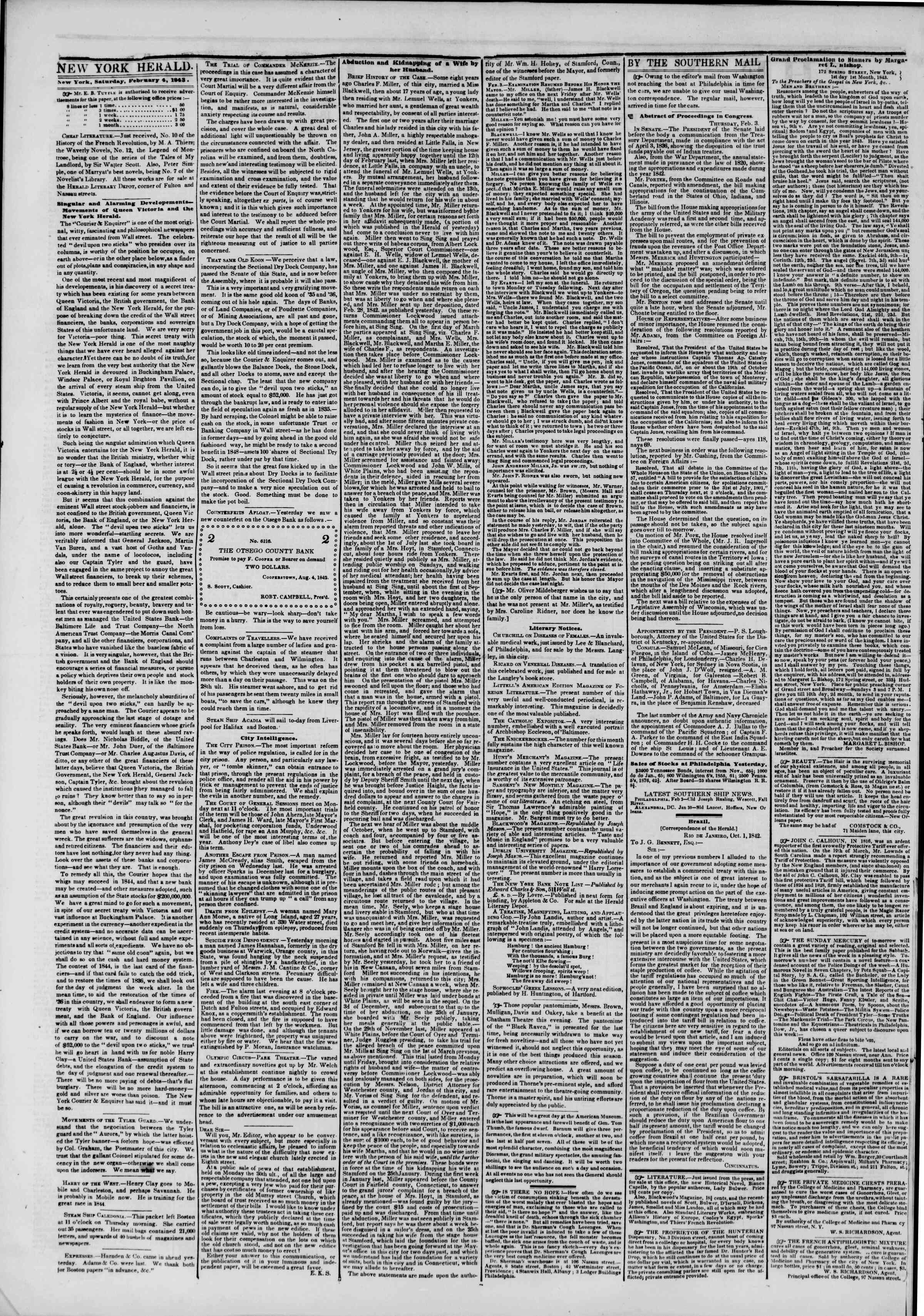 February 4, 1843 Tarihli The New York Herald Gazetesi Sayfa 2