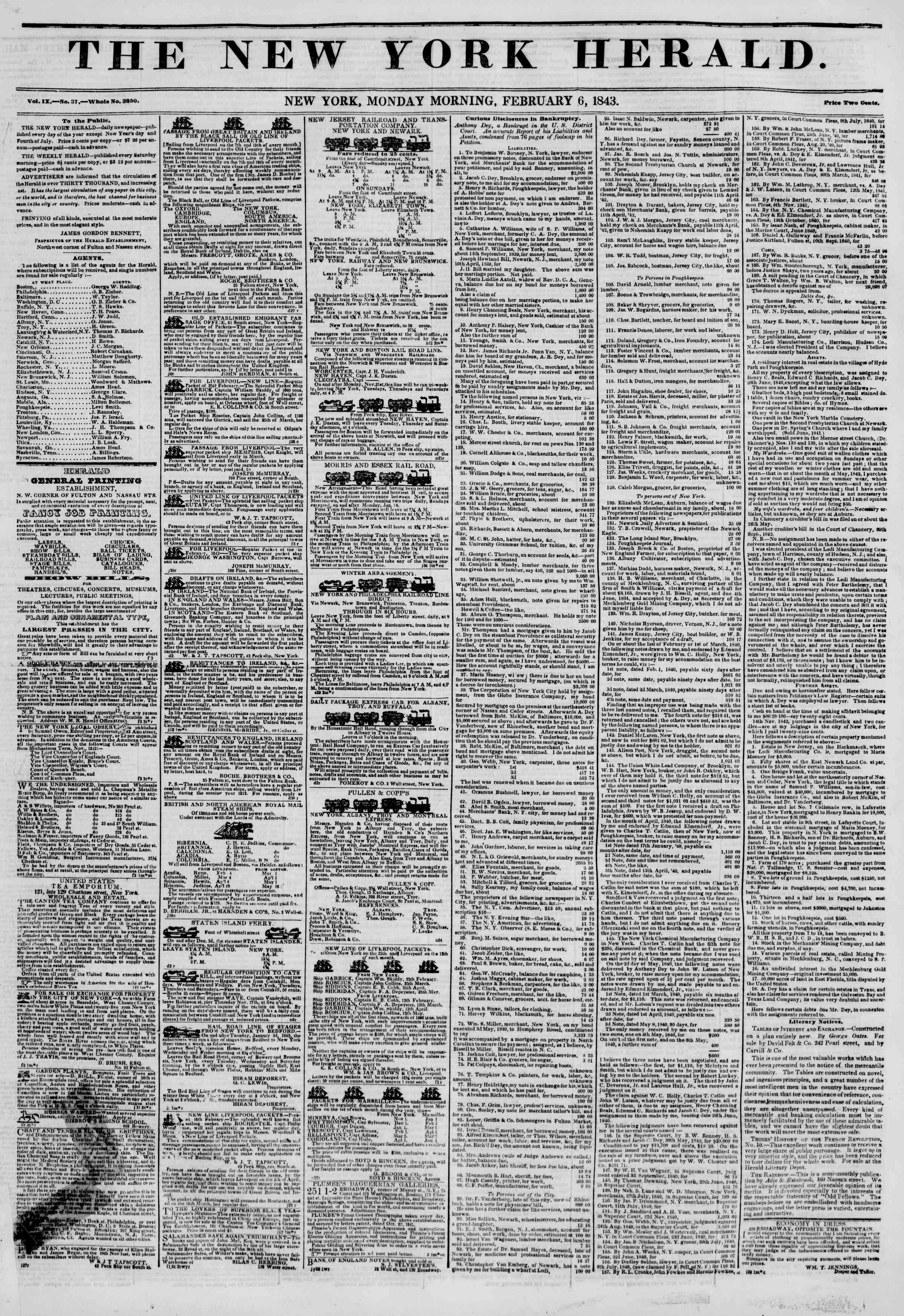 Newspaper of The New York Herald dated February 6, 1843 Page 1