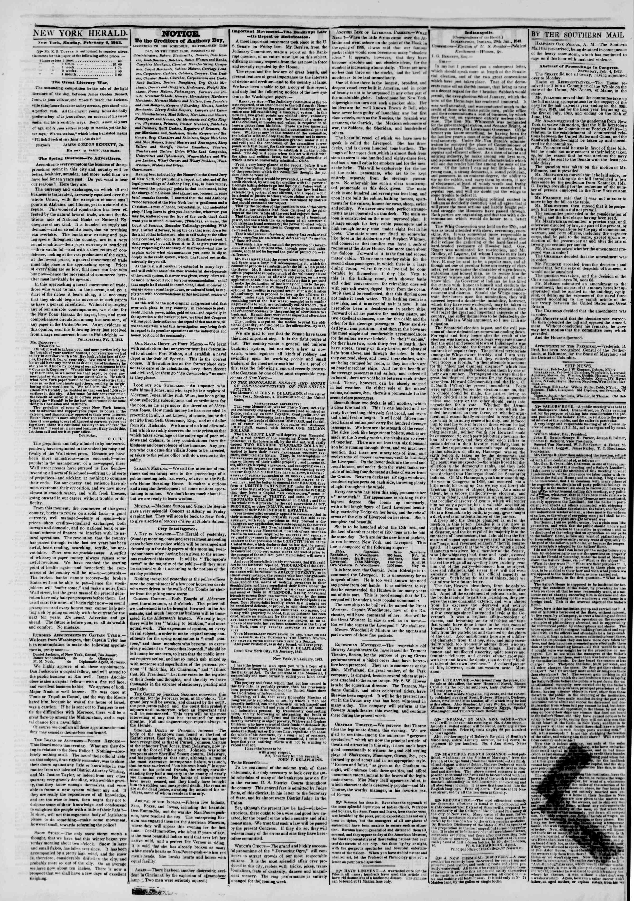 February 6, 1843 Tarihli The New York Herald Gazetesi Sayfa 2