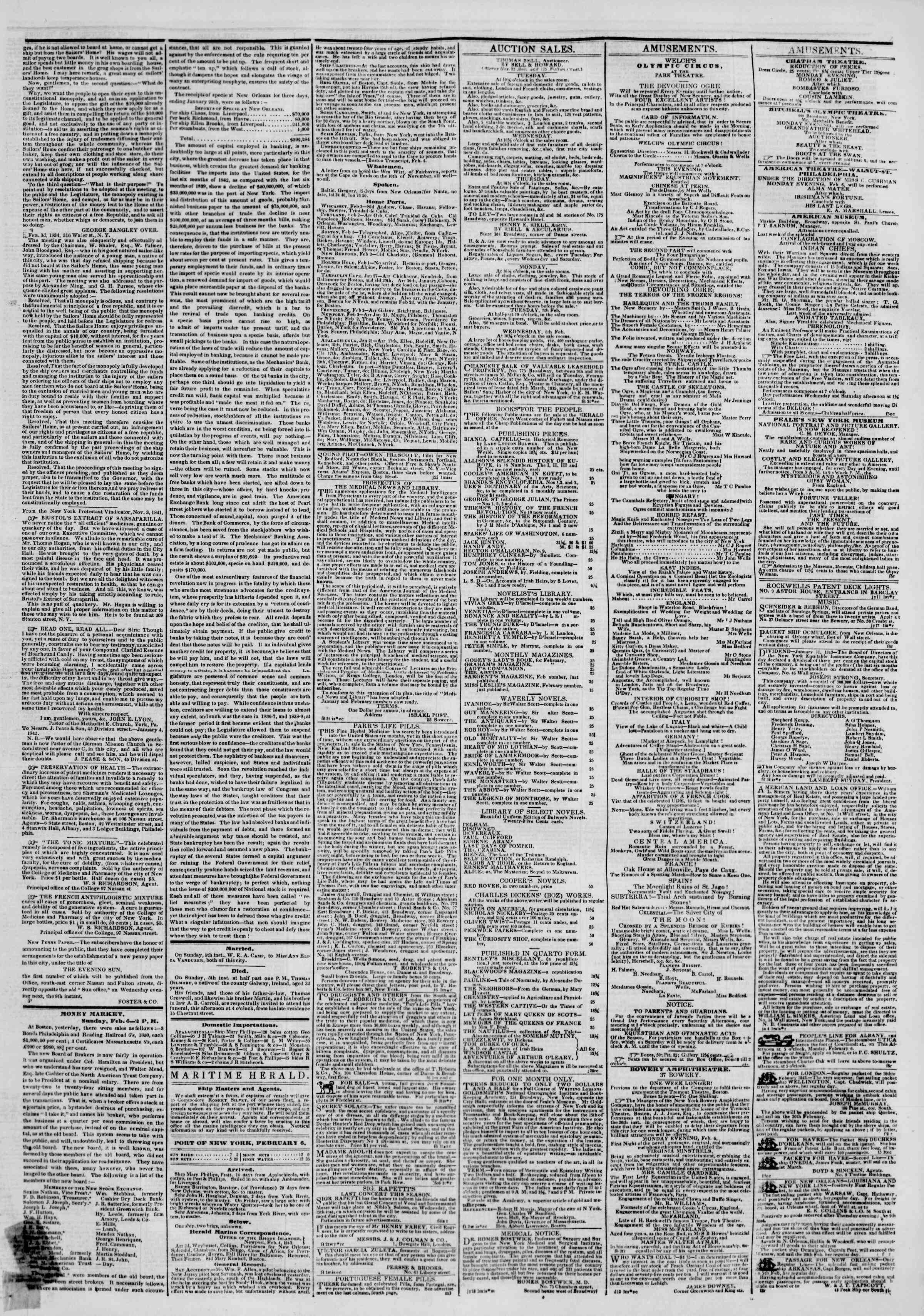 Newspaper of The New York Herald dated February 6, 1843 Page 3