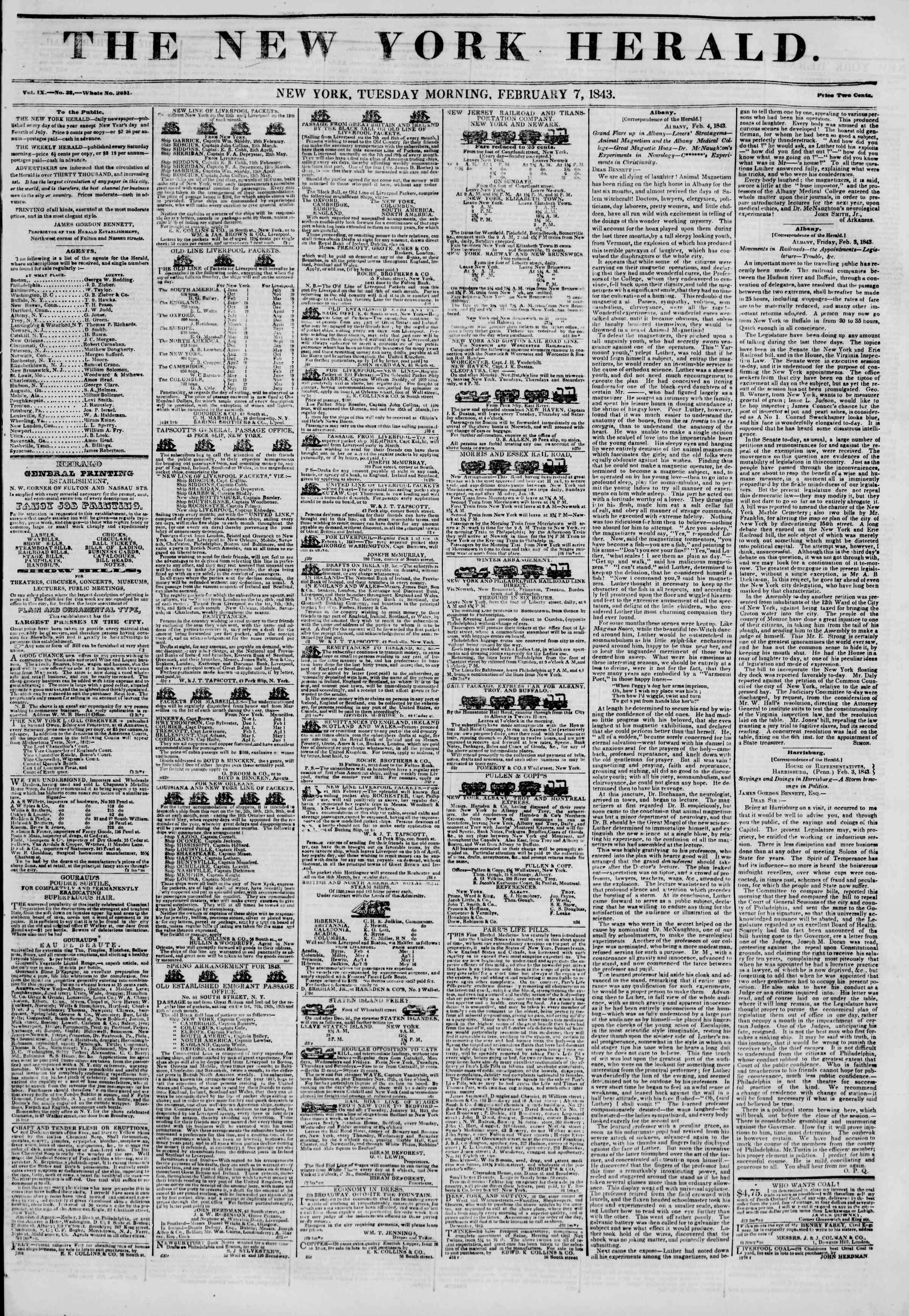 February 7, 1843 Tarihli The New York Herald Gazetesi Sayfa 1