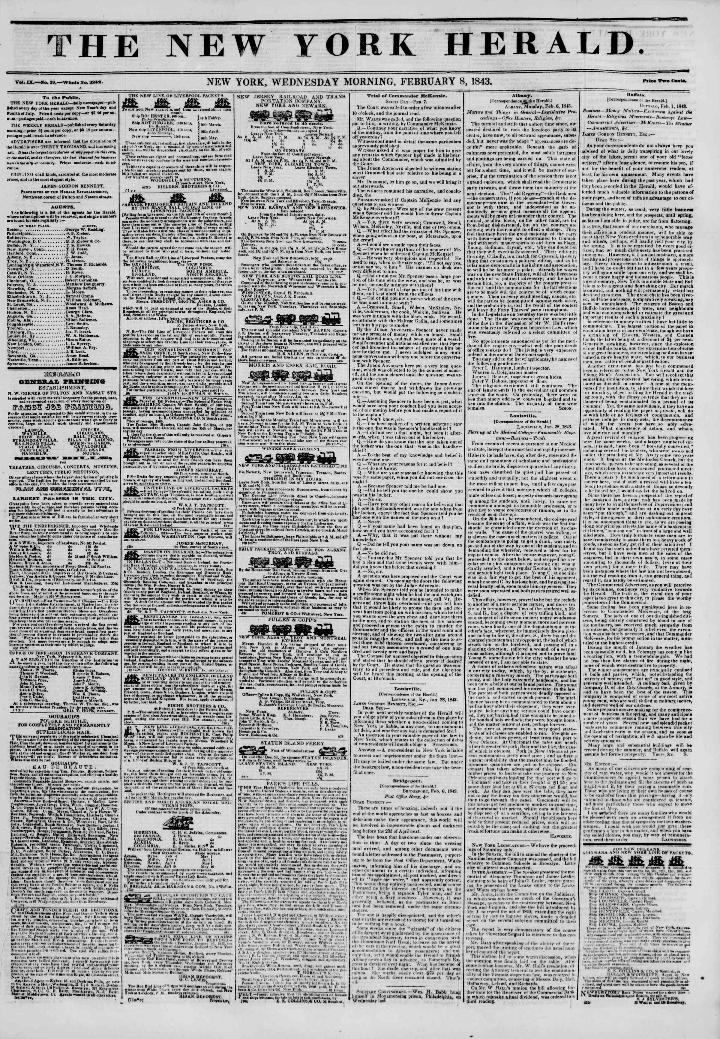 Newspaper of The New York Herald dated February 8, 1843 Page 1