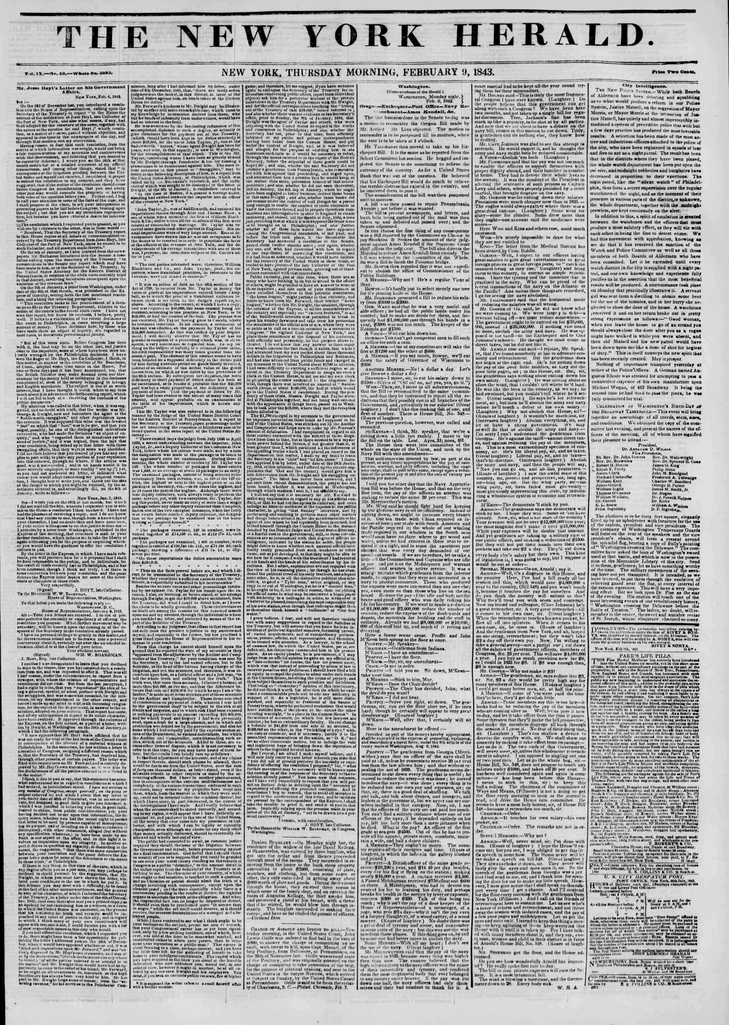 February 9, 1843 Tarihli The New York Herald Gazetesi Sayfa 1