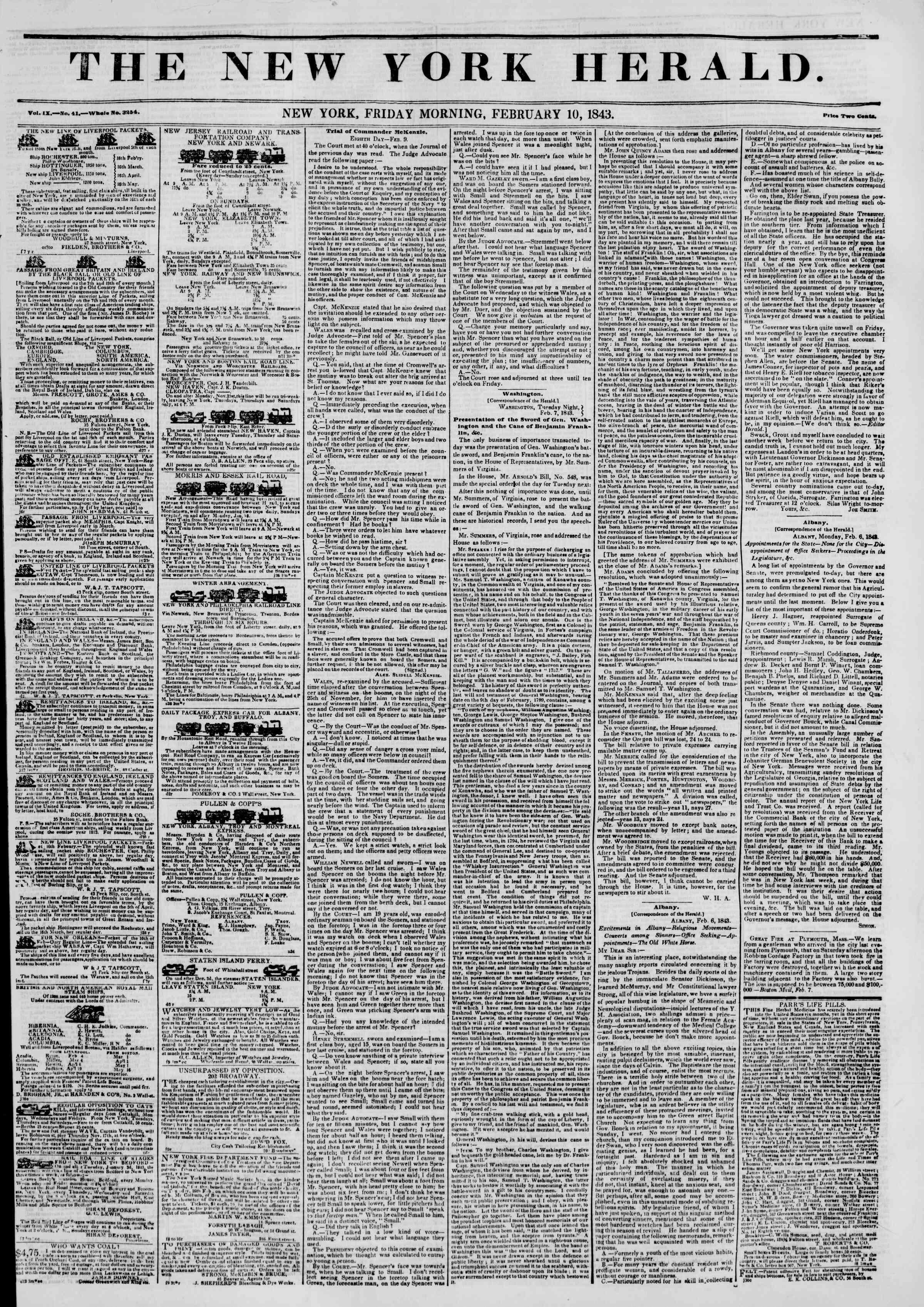 February 10, 1843 Tarihli The New York Herald Gazetesi Sayfa 1