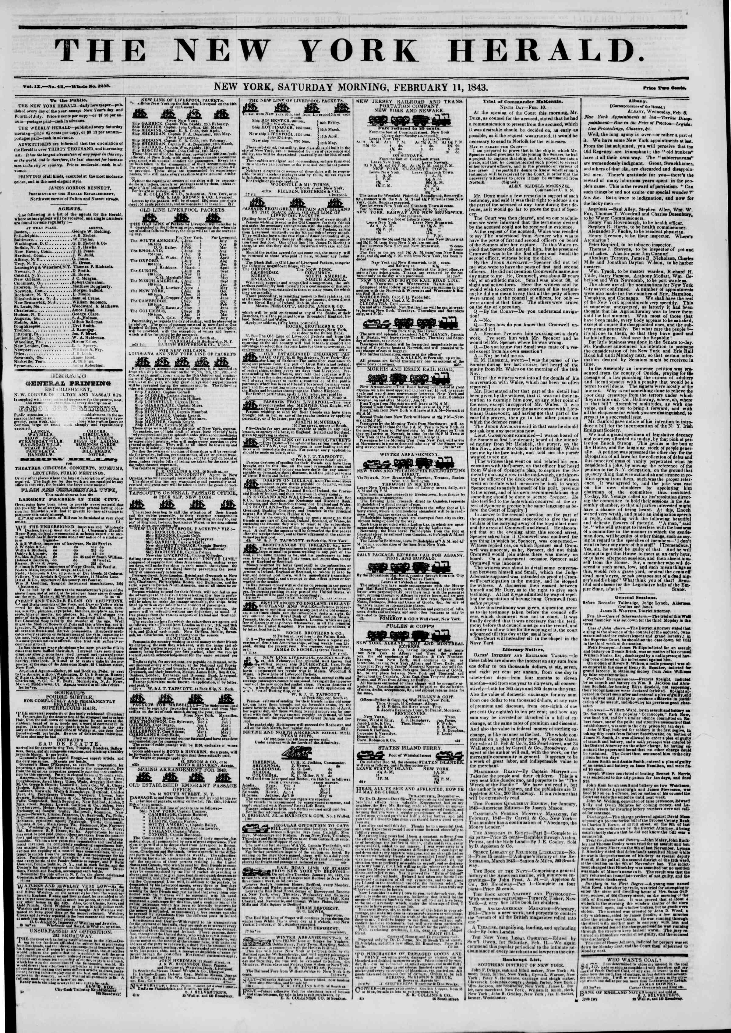 Newspaper of The New York Herald dated February 11, 1843 Page 1