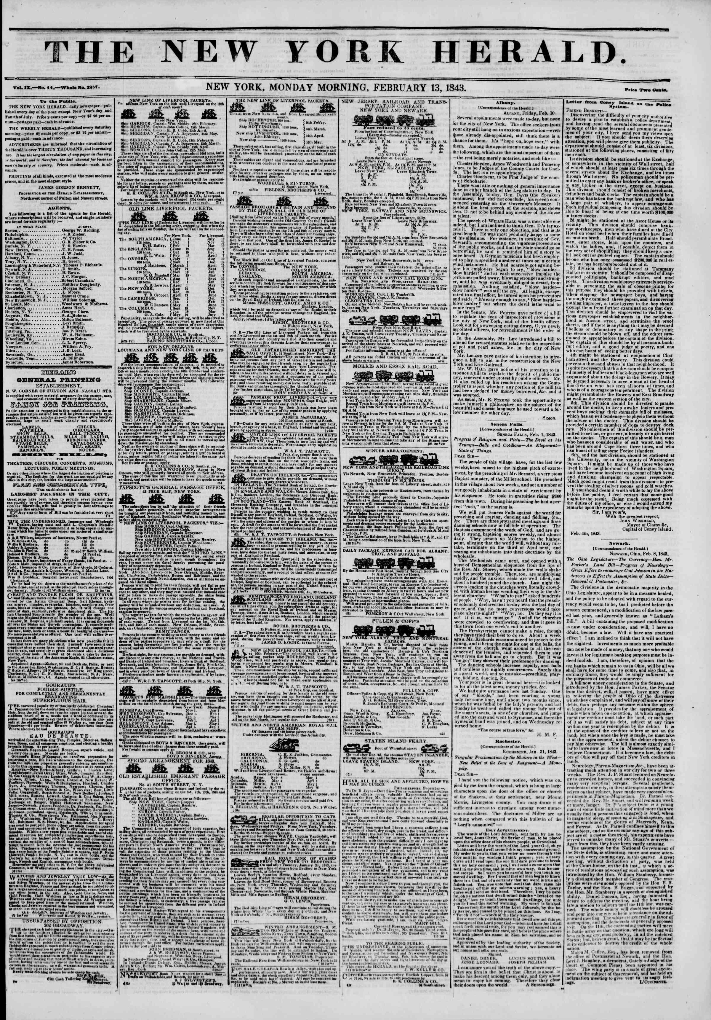 February 13, 1843 Tarihli The New York Herald Gazetesi Sayfa 1